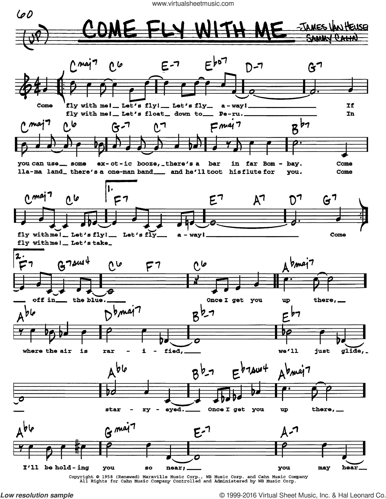 Come Fly With Me sheet music for voice and other instruments (Vocal Volume 1) by Sammy Cahn