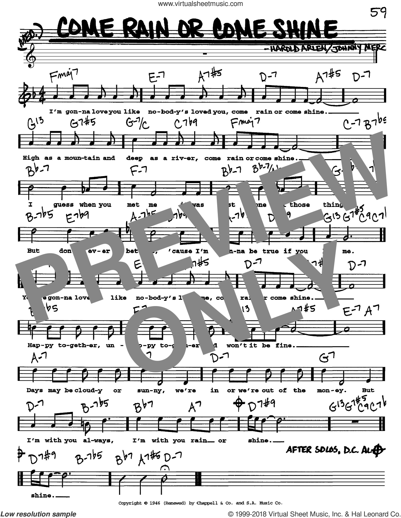 Come Rain Or Come Shine sheet music for voice and other instruments (Vocal Volume 1) by Johnny Mercer and Harold Arlen. Score Image Preview.