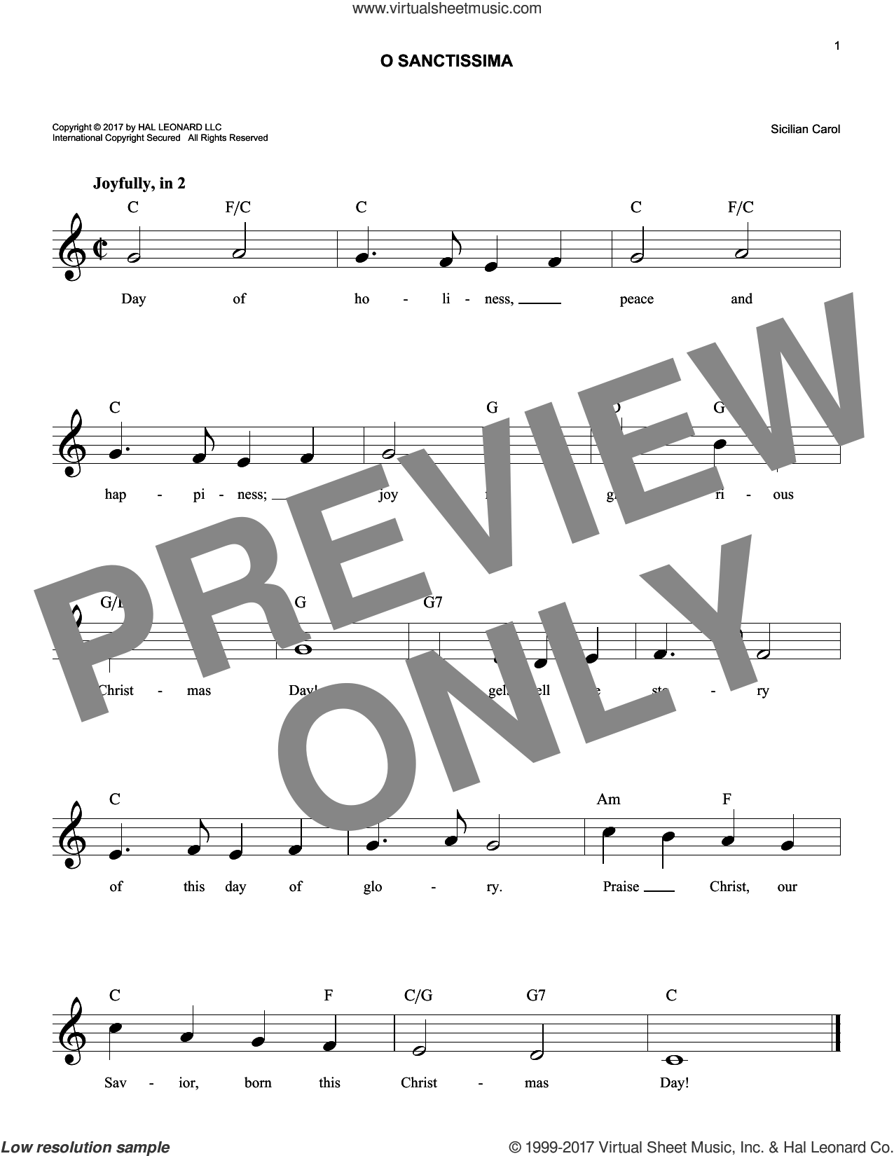 O Sanctissima sheet music for voice and other instruments (fake book), intermediate skill level
