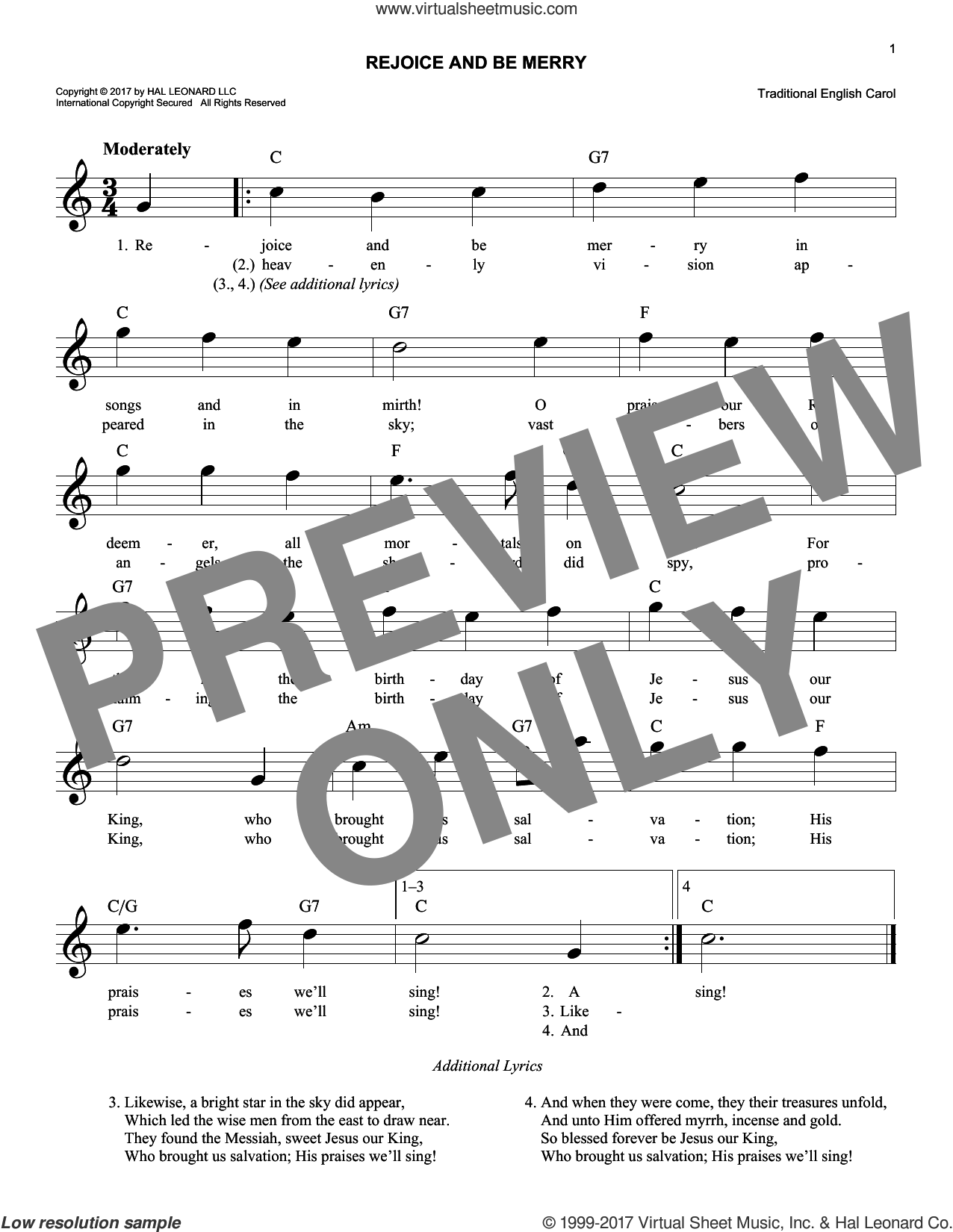 Rejoice And Be Merry sheet music for voice and other instruments (fake book), intermediate skill level
