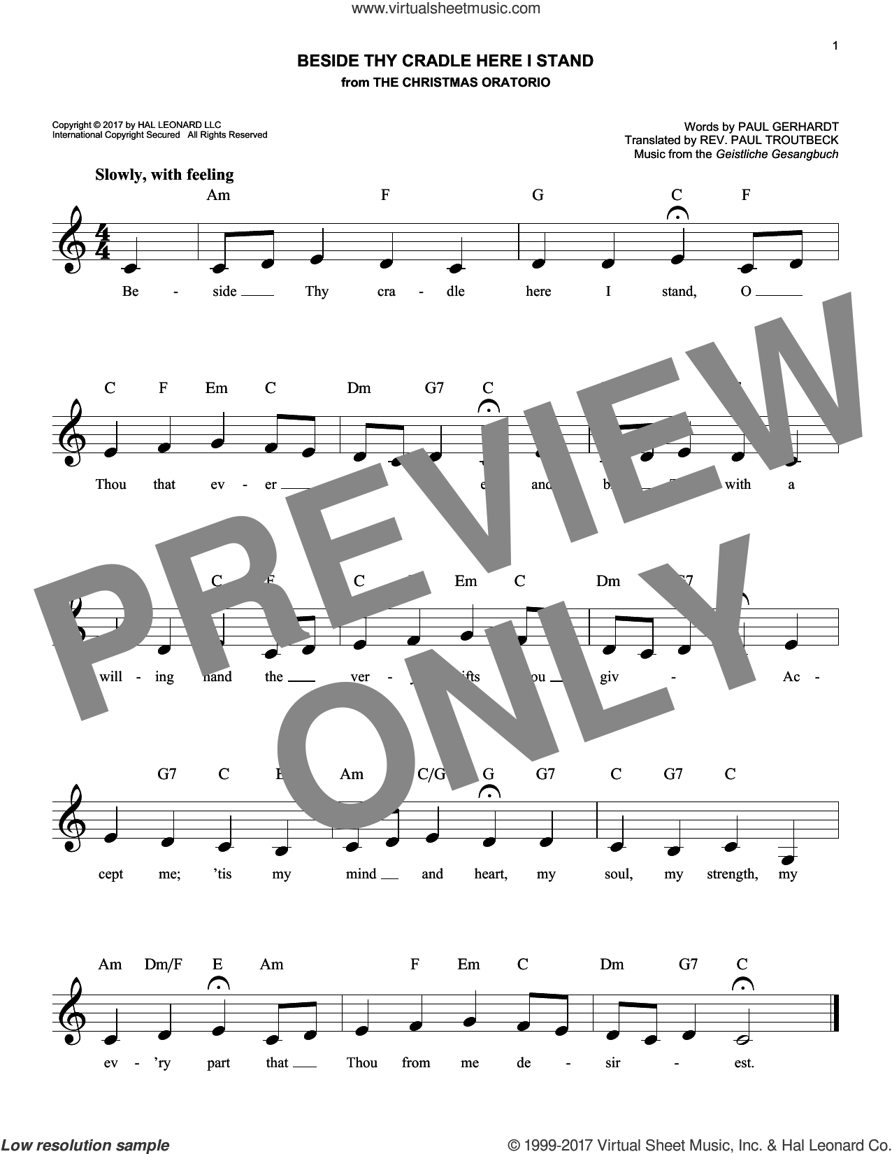 Beside Thy Cradle Here I Stand sheet music for voice and other instruments (fake book) by Paul Gerhardt and Geistliche Gesangbuch, intermediate skill level