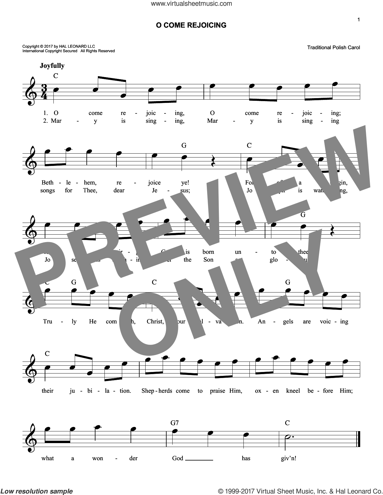 O Come Rejoicing sheet music for voice and other instruments (fake book). Score Image Preview.