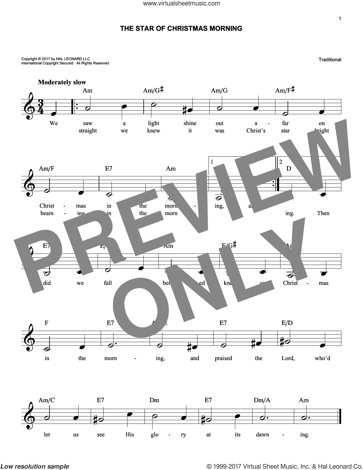 The Star Of Christmas Morning sheet music for voice and other instruments (fake book), intermediate skill level