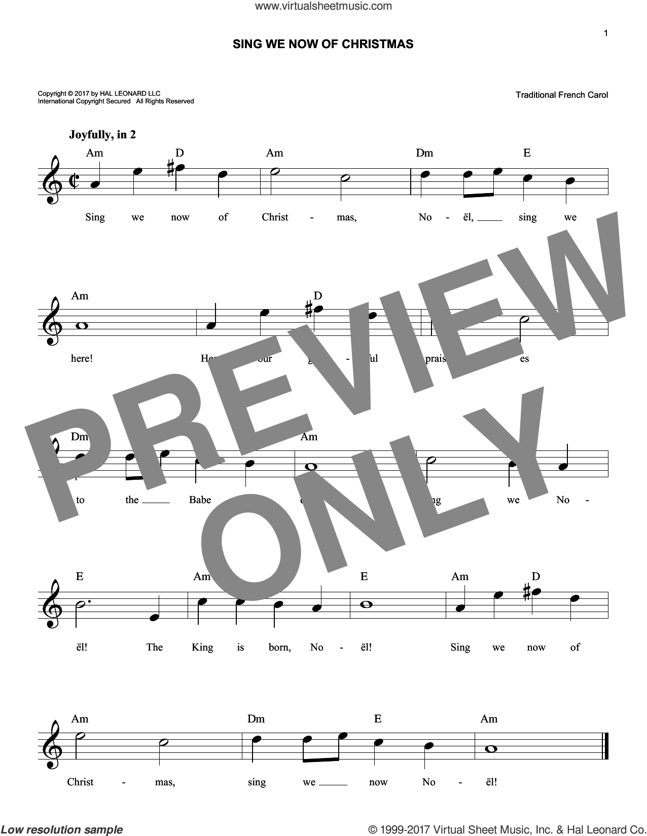 Sing We Now Of Christmas sheet music for voice and other instruments (fake book), intermediate skill level