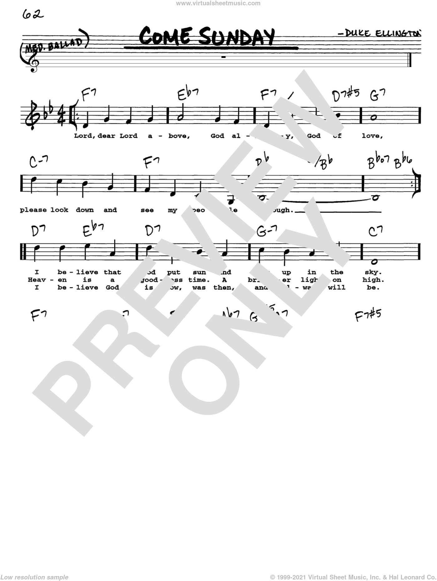 Come Sunday sheet music for voice and other instruments  by Duke Ellington, intermediate skill level