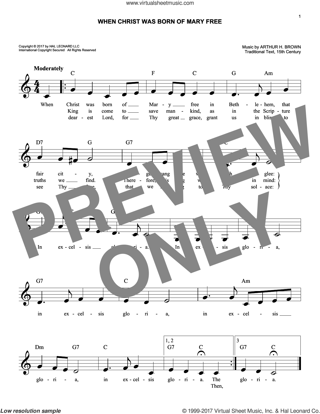 When Christ Was Born Of Mary Free sheet music for voice and other instruments (fake book) by Arthur H. Brown. Score Image Preview.