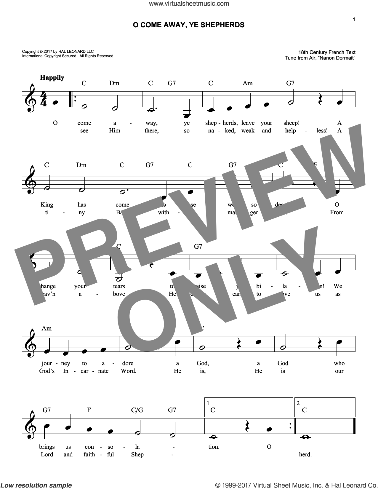 O Come Away, Ye Shepherds sheet music for voice and other instruments (fake book) by Anonymous, 18th Century French and From Air, 'Nanon Dormait', intermediate skill level