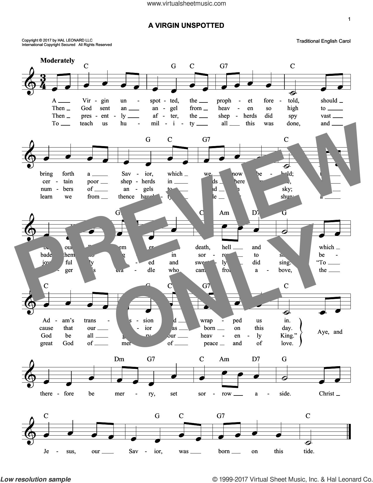 A Virgin Unspotted sheet music for voice and other instruments (fake book), intermediate skill level