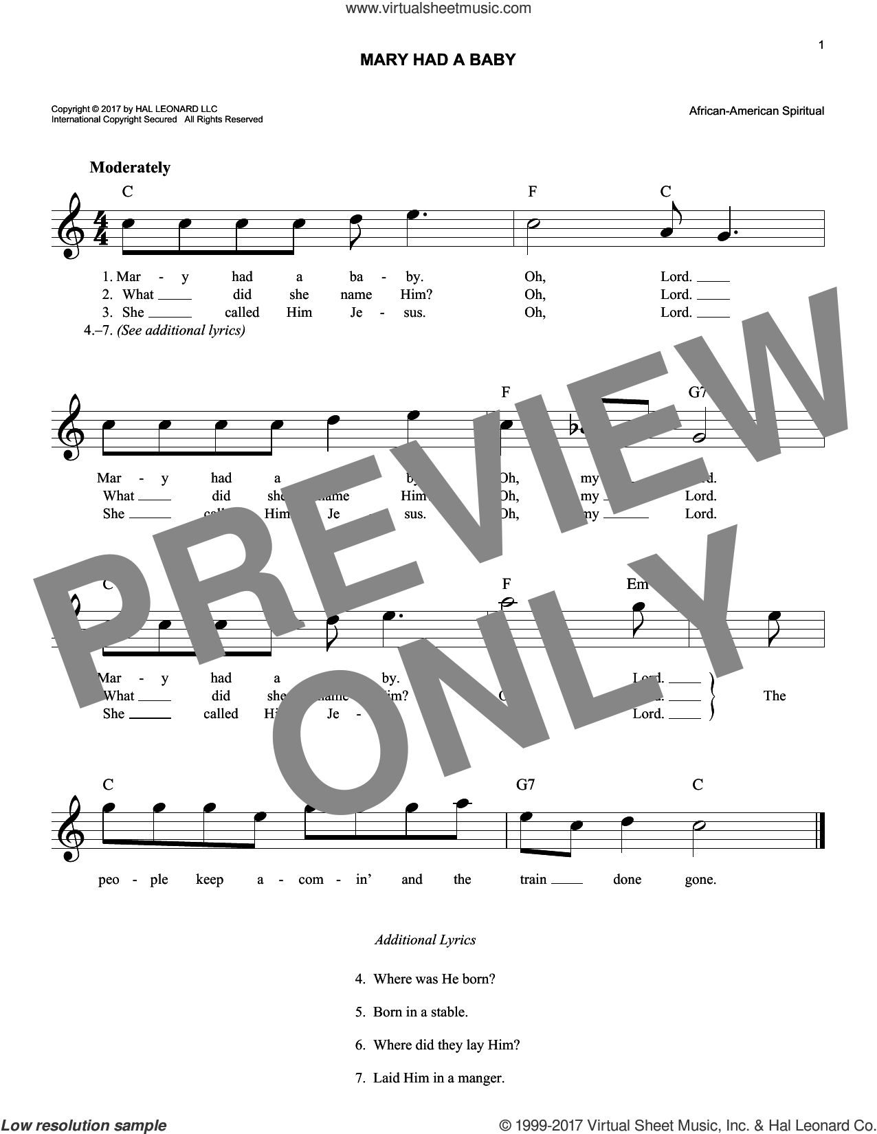 Mary Had A Baby sheet music for voice and other instruments (fake book), intermediate skill level