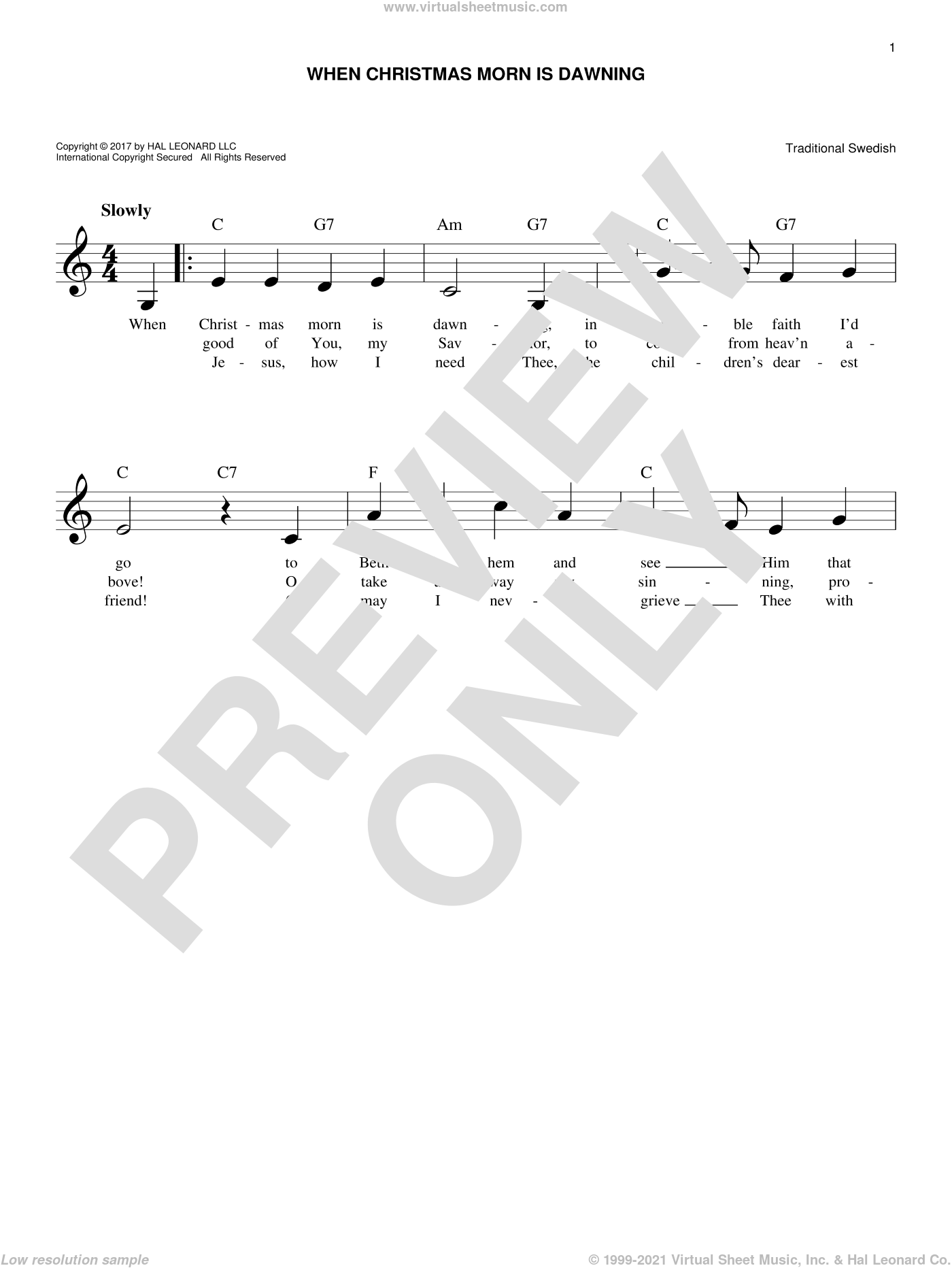 When Christmas Morn Is Dawning sheet music for voice and other instruments (fake book), intermediate. Score Image Preview.