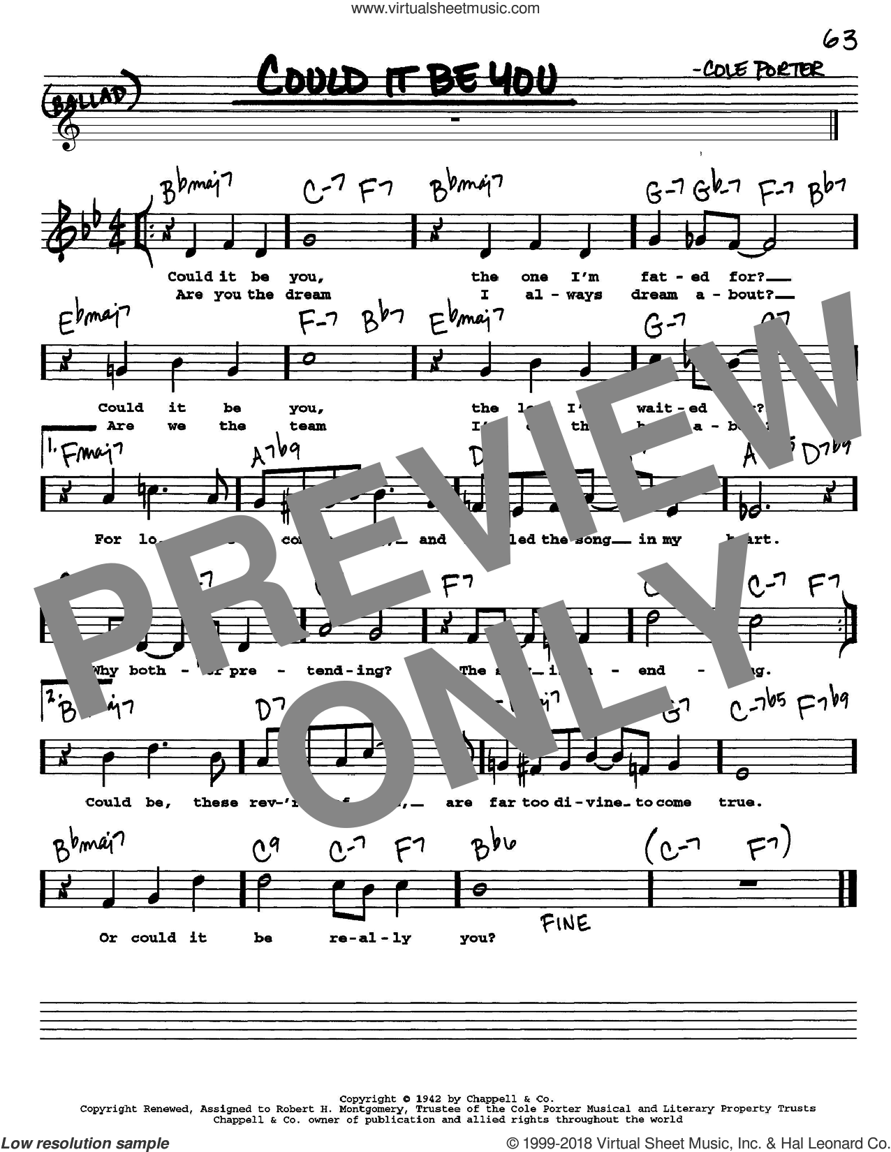 Could It Be You sheet music for voice and other instruments  by Cole Porter, intermediate skill level