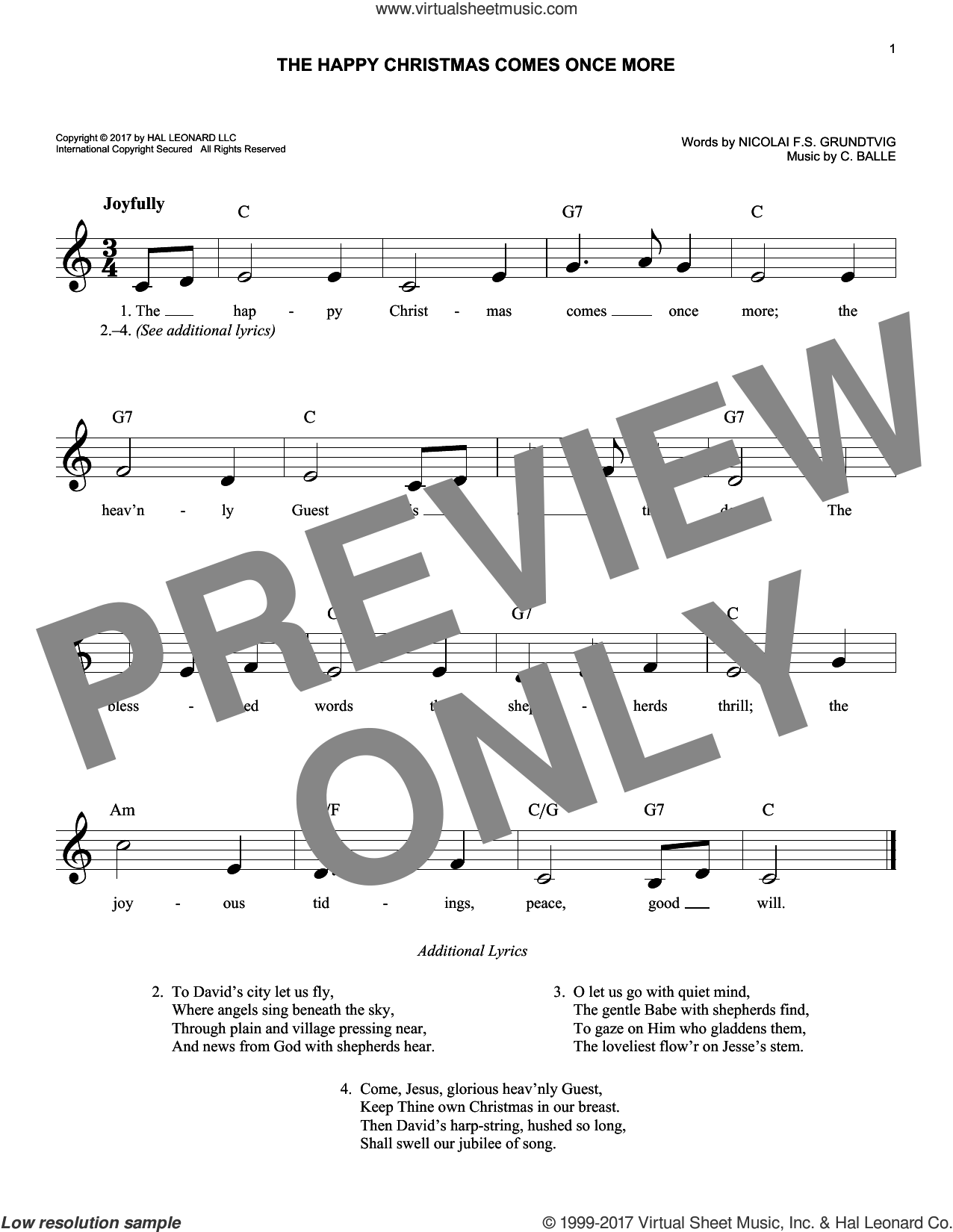 The Happy Christmas Comes Once More sheet music for voice and other instruments (fake book) by Nicolai F.S. Grundtvig and C. Balle, intermediate skill level
