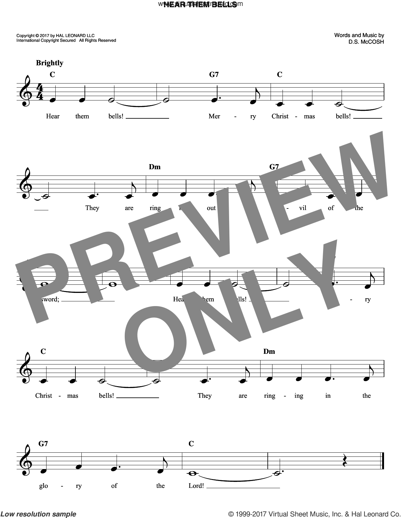 Hear Them Bells sheet music for voice and other instruments (fake book) by D.S. McCosh, intermediate skill level