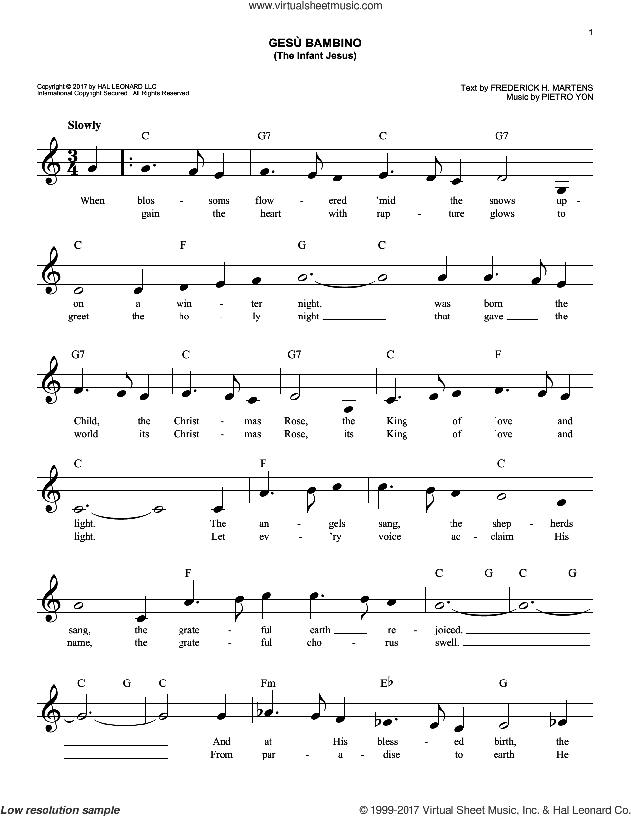 Gesu Bambino (The Infant Jesus) sheet music for voice and other instruments (fake book) by Pietro Yon and Frederick H. Martens, intermediate skill level