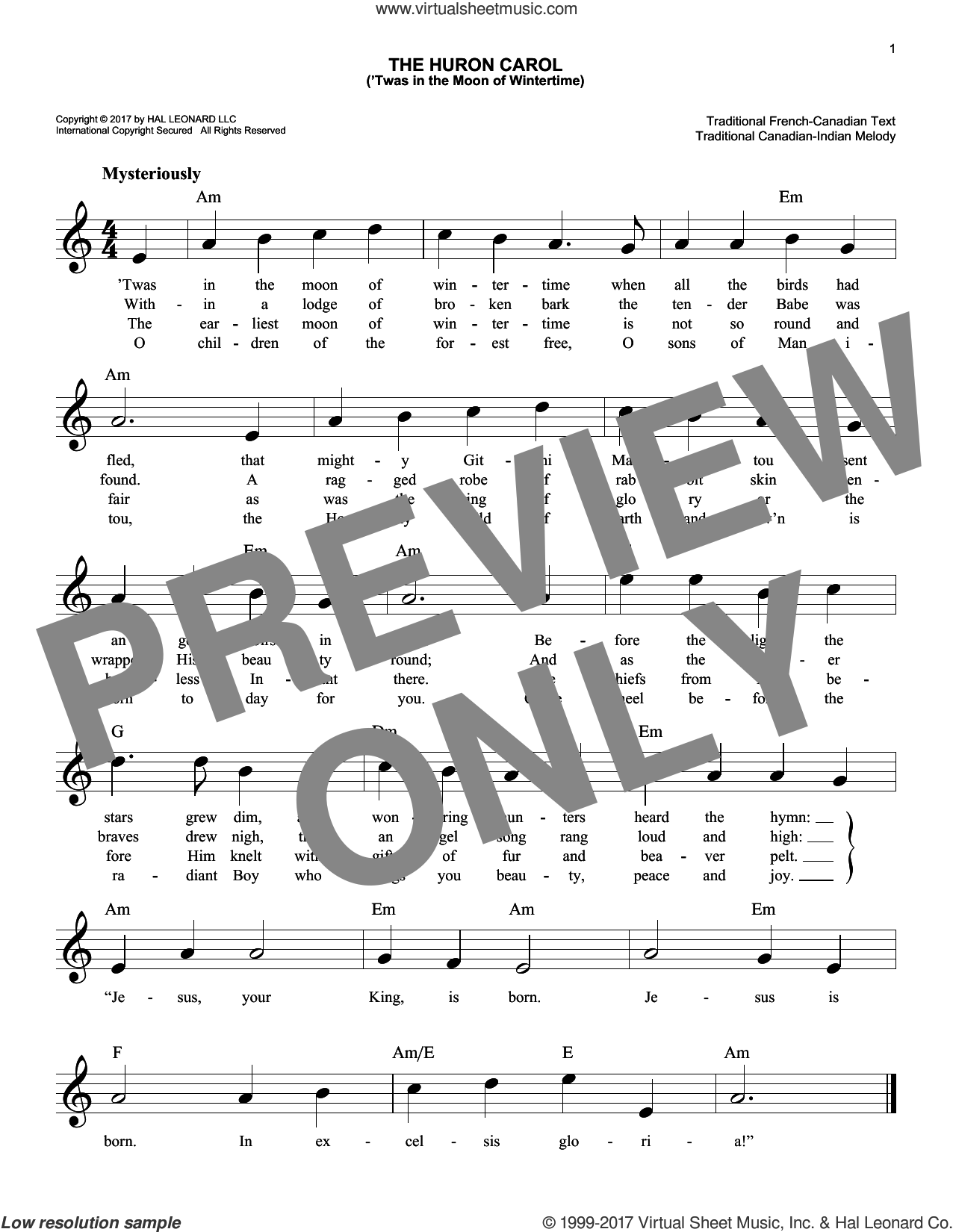 The Huron Carol ('Twas In The Moon Of Wintertime) sheet music for voice and other instruments (fake book) by Trad. Canadian-Indian Melody, intermediate skill level