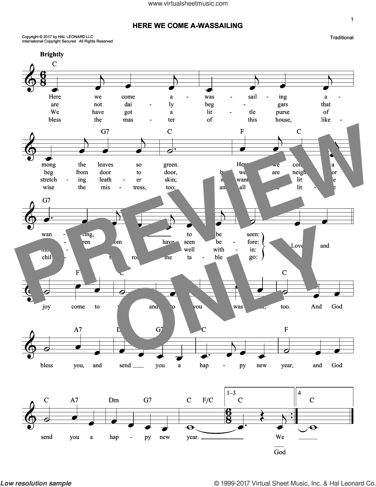 Here We Come A-Wassailing sheet music for voice and other instruments (fake book), intermediate