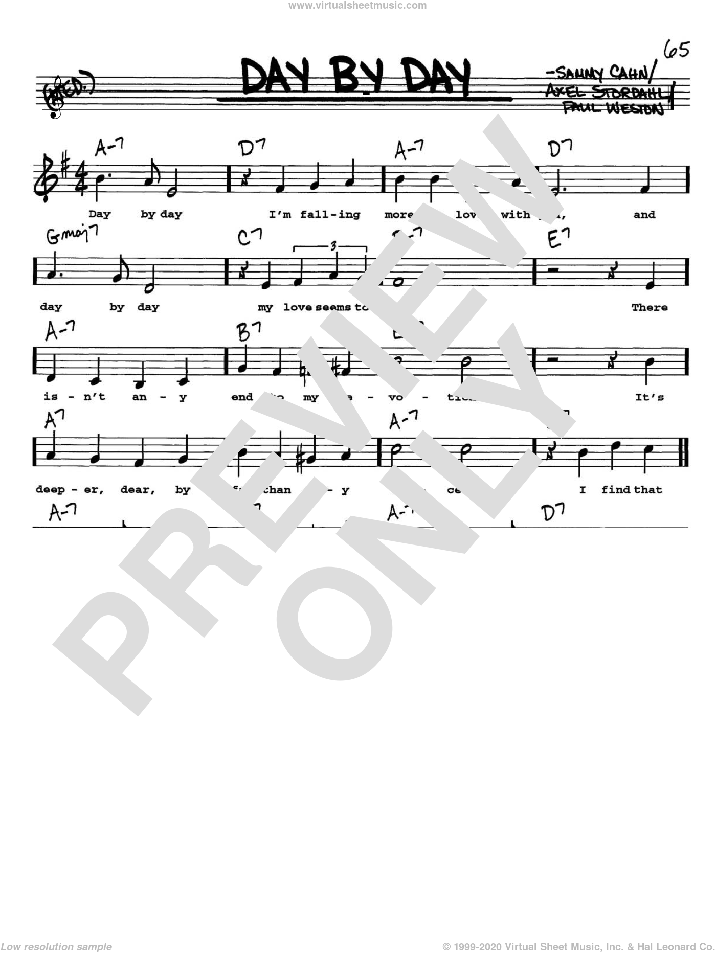Day By Day sheet music for voice and other instruments (Vocal Volume 1) by Paul Weston, Axel Stordahl and Sammy Cahn. Score Image Preview.