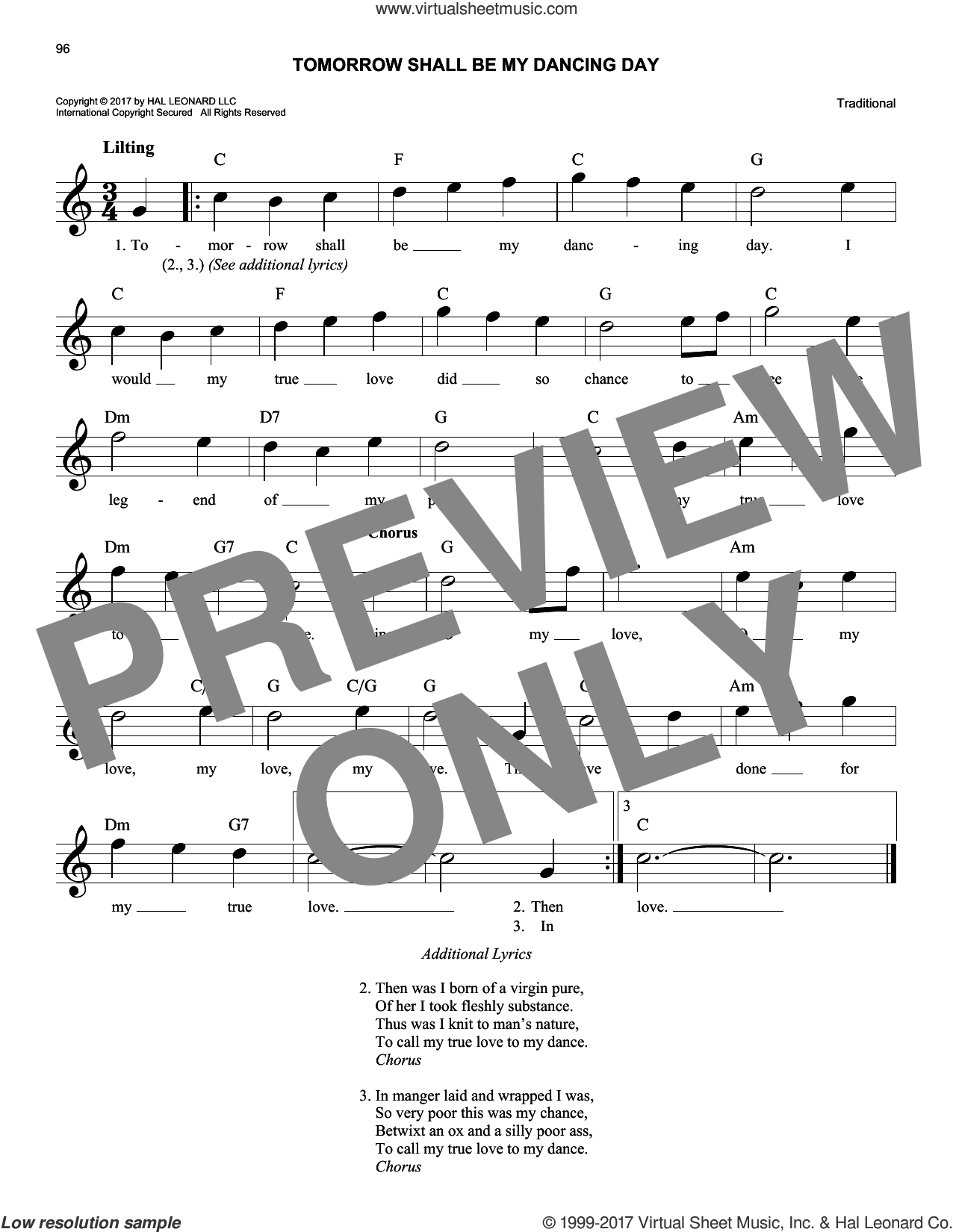 Tomorrow Shall Be My Dancing Day sheet music for voice and other instruments (fake book). Score Image Preview.