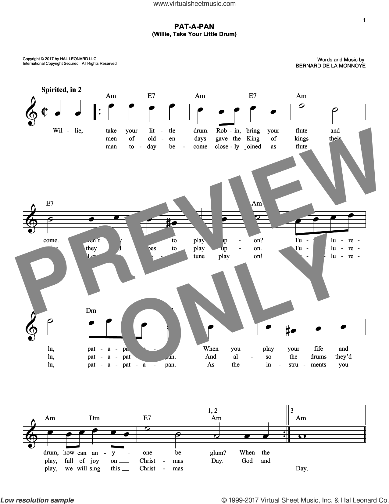 Pat-A-Pan (Willie, Take Your Little Drum) sheet music for voice and other instruments (fake book) by Bernard de la Monnoye, intermediate. Score Image Preview.