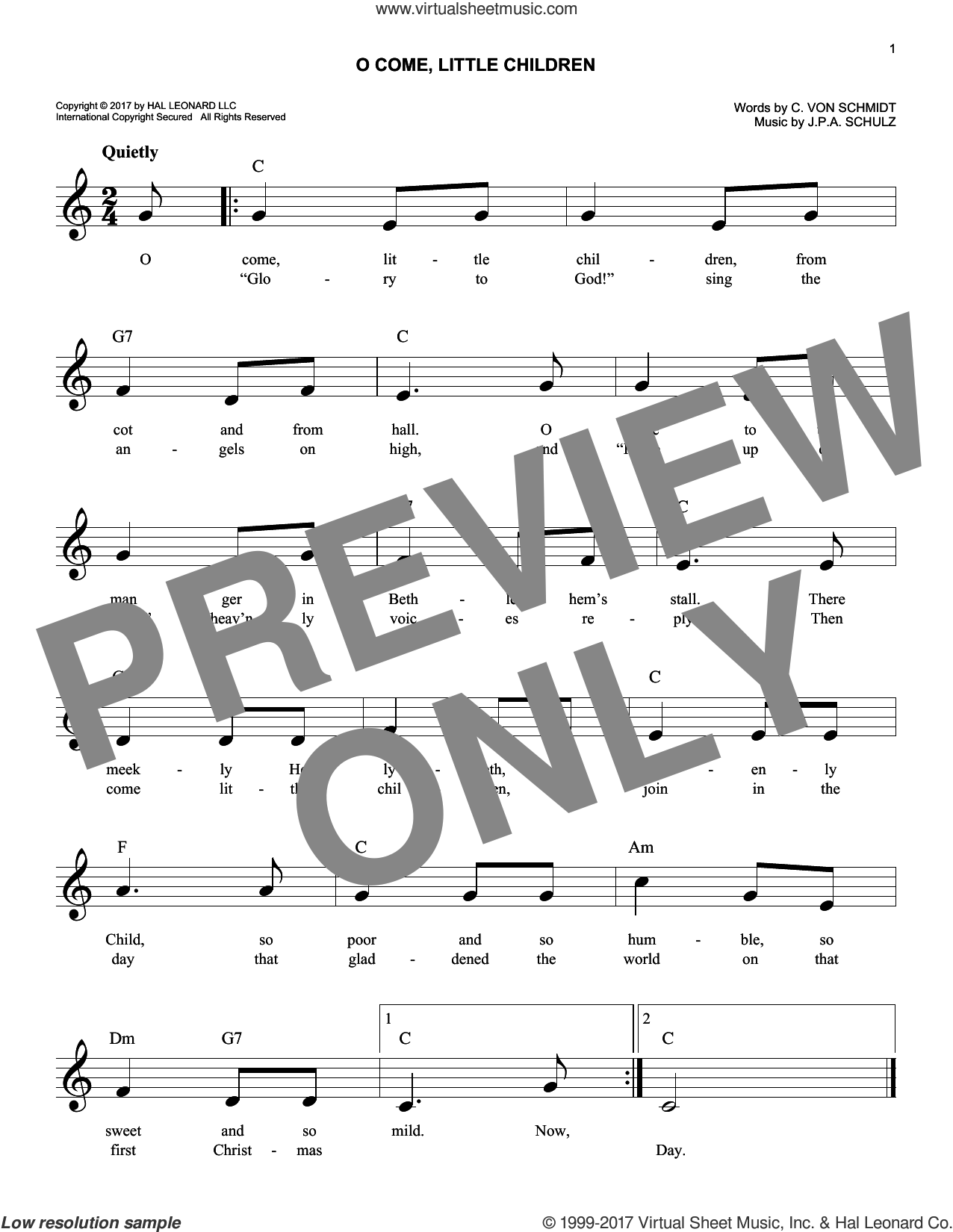 O Come, Little Children sheet music for voice and other instruments (fake book) by J.A.P. Schulz and Cristoph Von Schmid, intermediate skill level