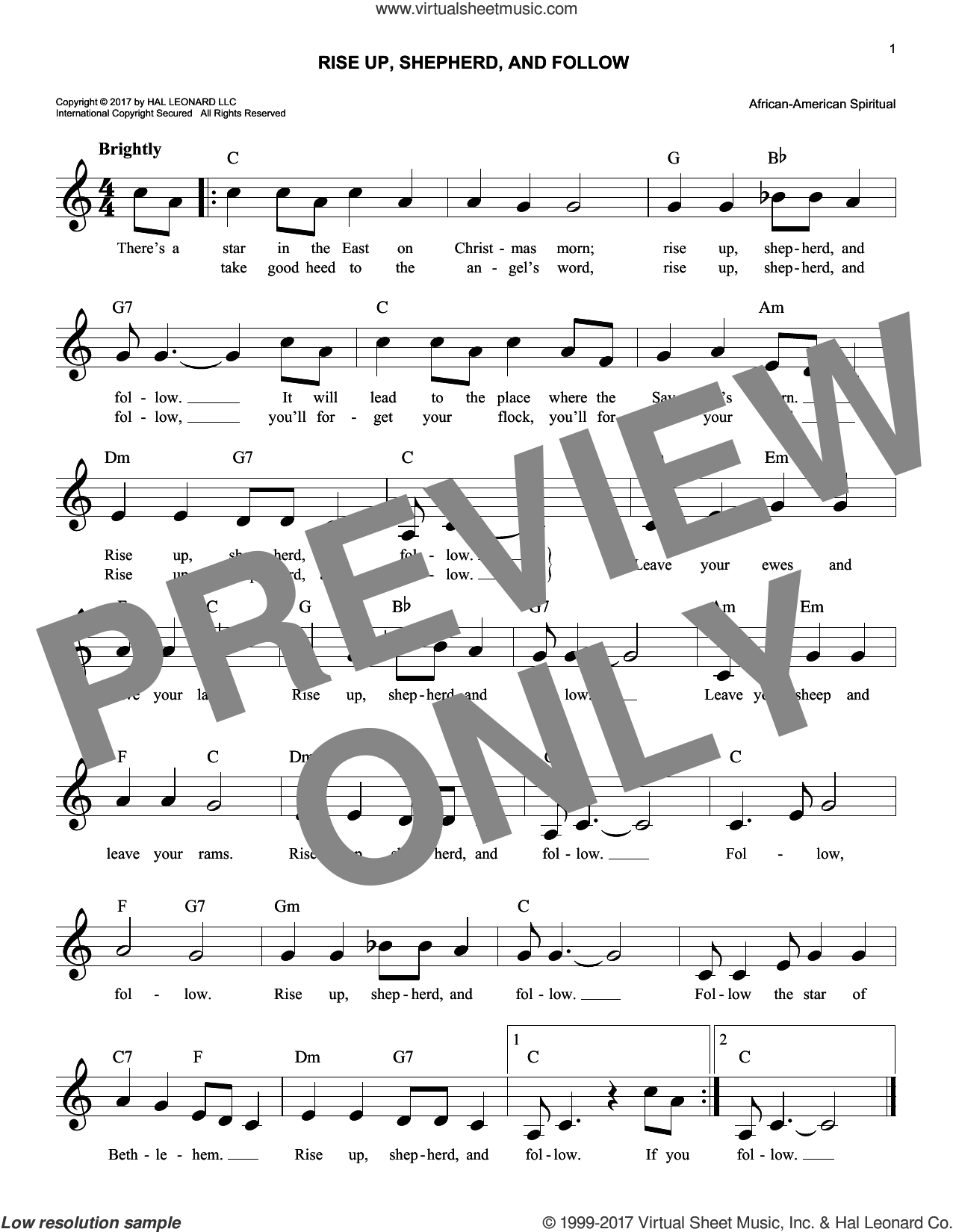 Rise Up, Shepherd, And Follow sheet music for voice and other instruments (fake book), intermediate skill level
