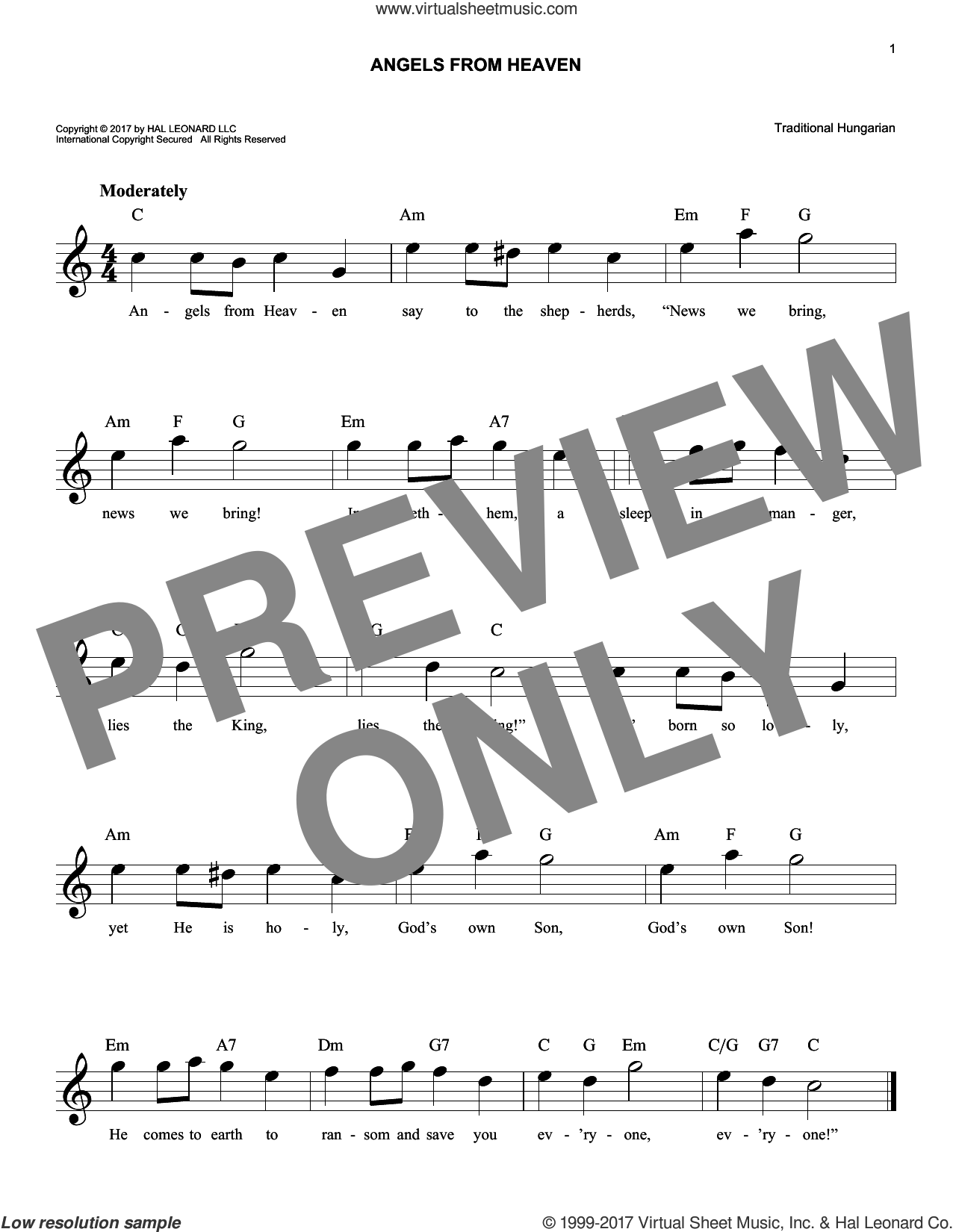 Angels From Heaven sheet music for voice and other instruments (fake book) by Traditional Hungarian, intermediate. Score Image Preview.