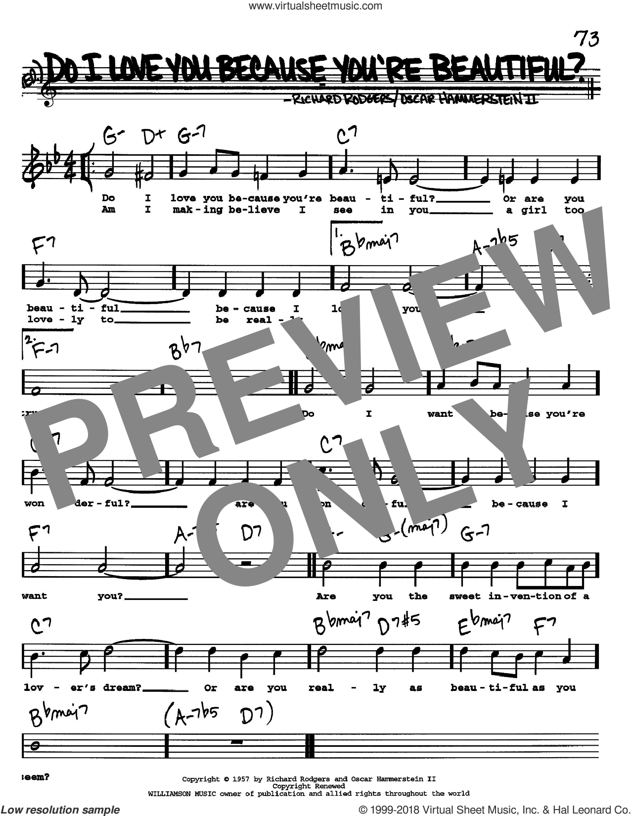Do I Love You Because You're Beautiful? sheet music for voice and other instruments (Vocal Volume 1) by Richard Rodgers, Rodgers & Hammerstein and Oscar II Hammerstein. Score Image Preview.