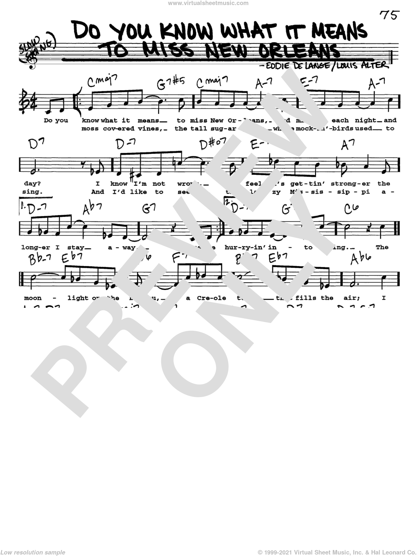 Do You Know What It Means To Miss New Orleans sheet music for voice and other instruments (Vocal Volume 1) by Louis Alter, Louis Armstrong and Eddie DeLange. Score Image Preview.