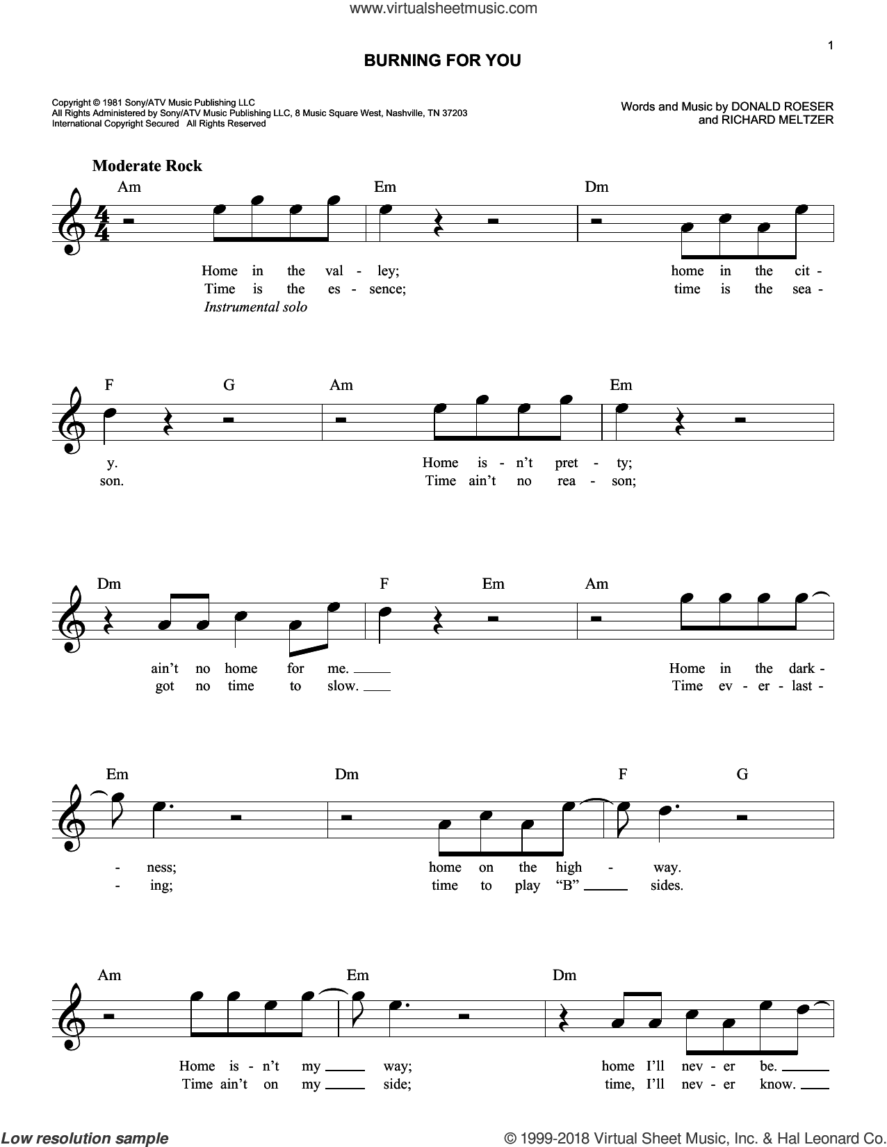 Burning For You sheet music for voice and other instruments (fake book) by Blue Oyster Cult, Donald Roeser and Richard Meltzer, intermediate. Score Image Preview.