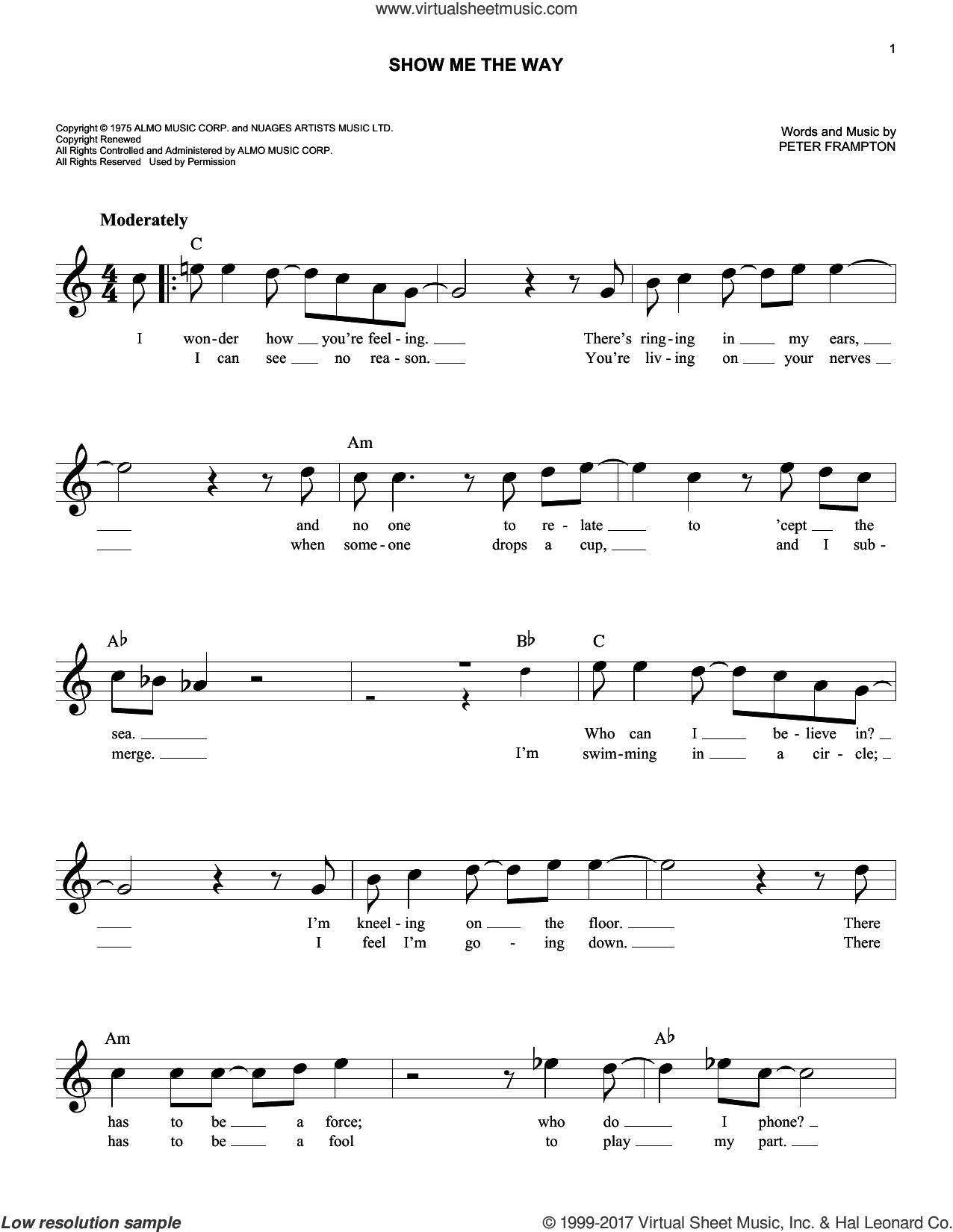 Show Me The Way sheet music for voice and other instruments (fake book) by Peter Frampton, intermediate skill level