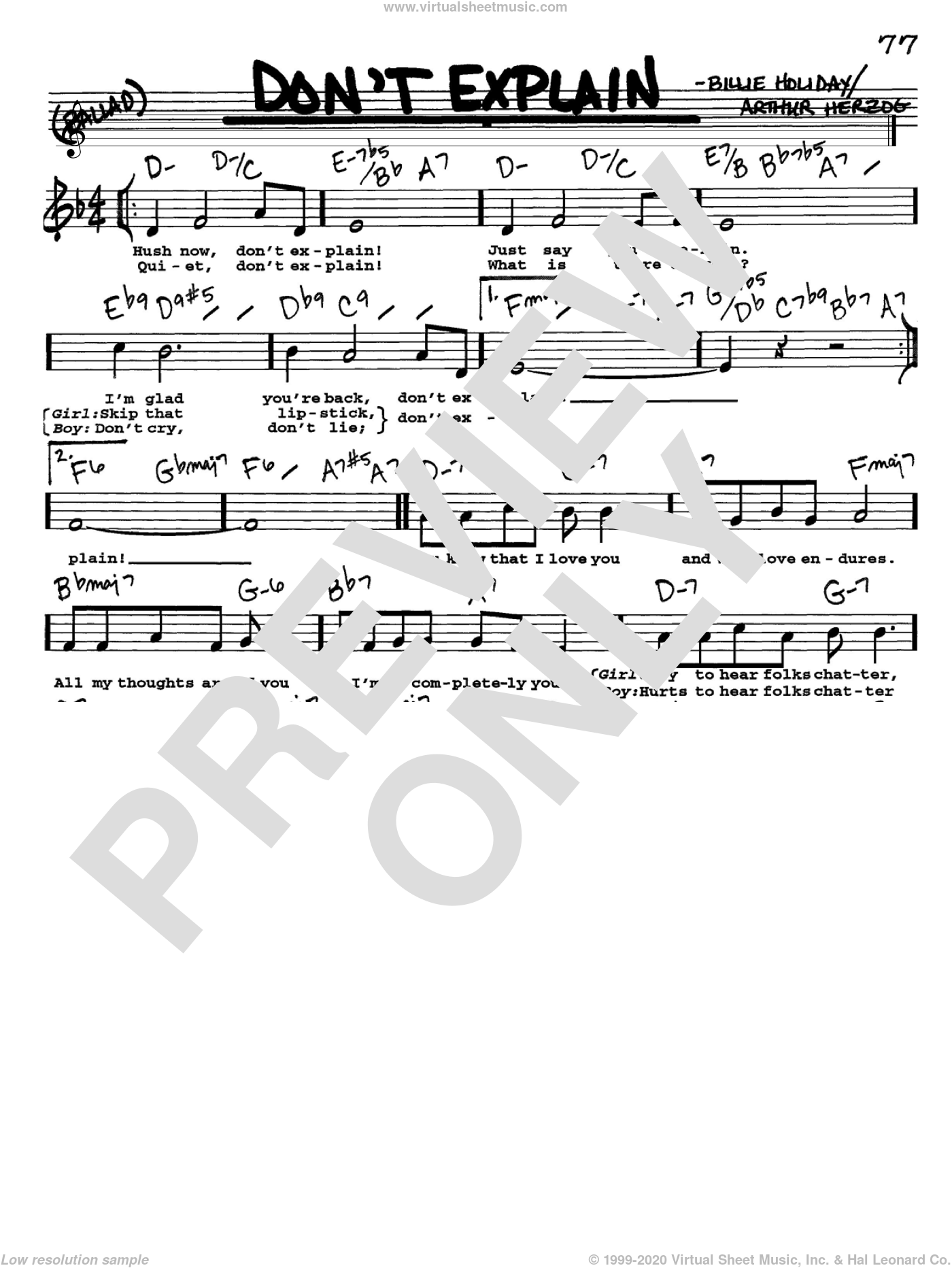 Don't Explain sheet music for voice and other instruments (Vocal Volume 1) by Arthur Herzog Jr. and Billie Holiday. Score Image Preview.