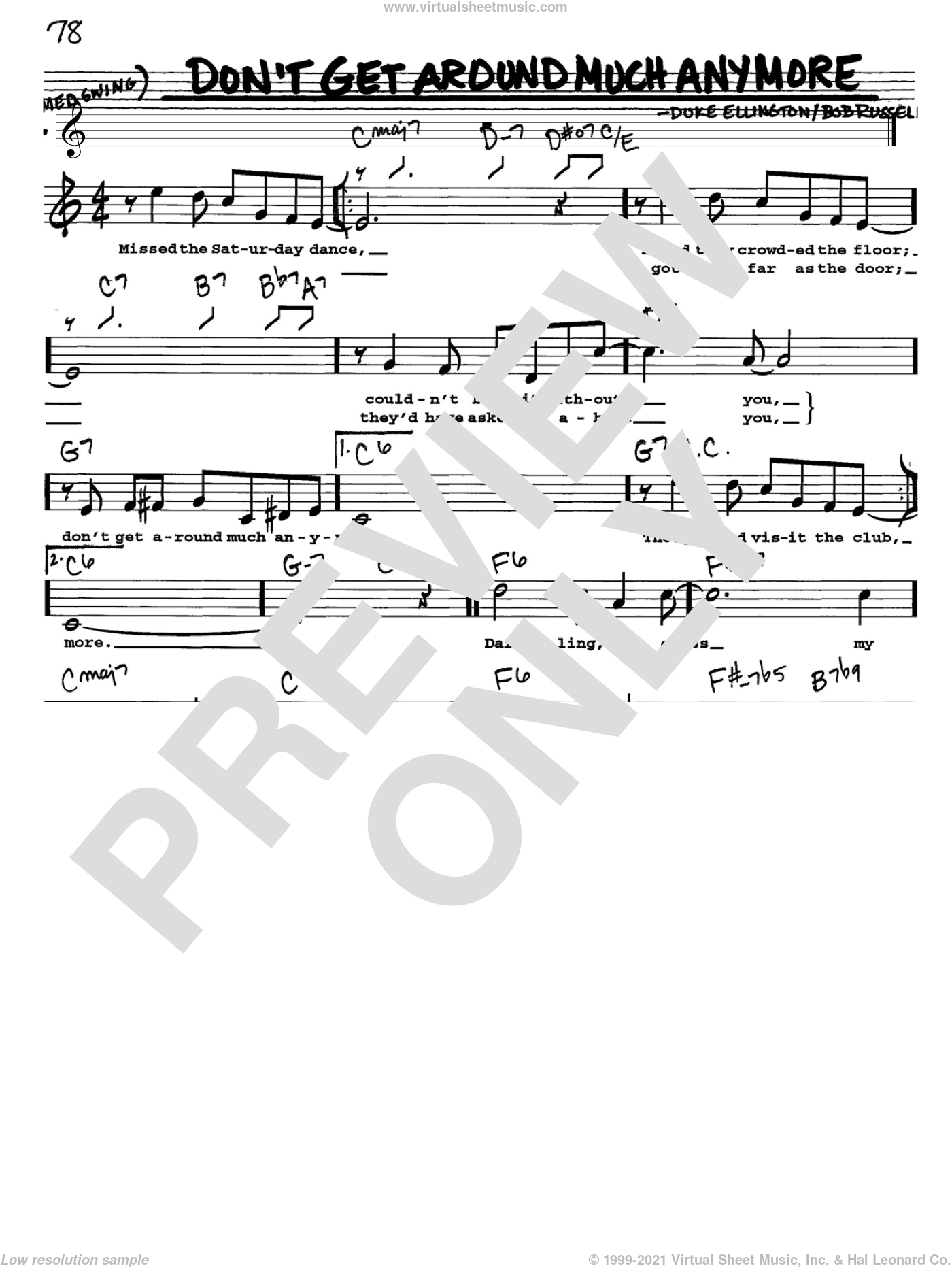 Don't Get Around Much Anymore sheet music for voice and other instruments  by Duke Ellington and Bob Russell, intermediate skill level