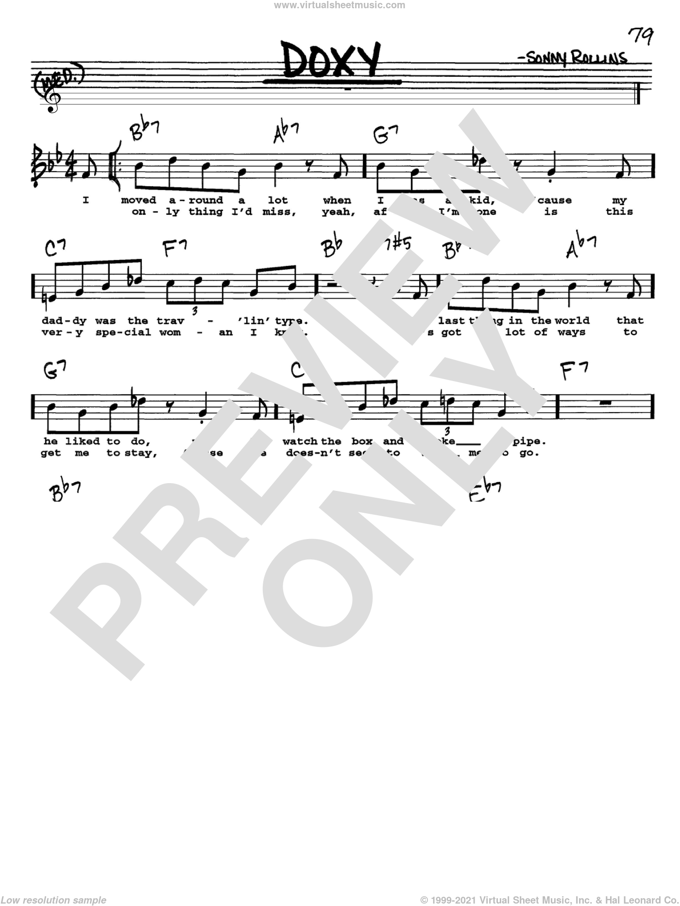 Doxy sheet music for voice and other instruments (Vocal Volume 1) by Sonny Rollins. Score Image Preview.