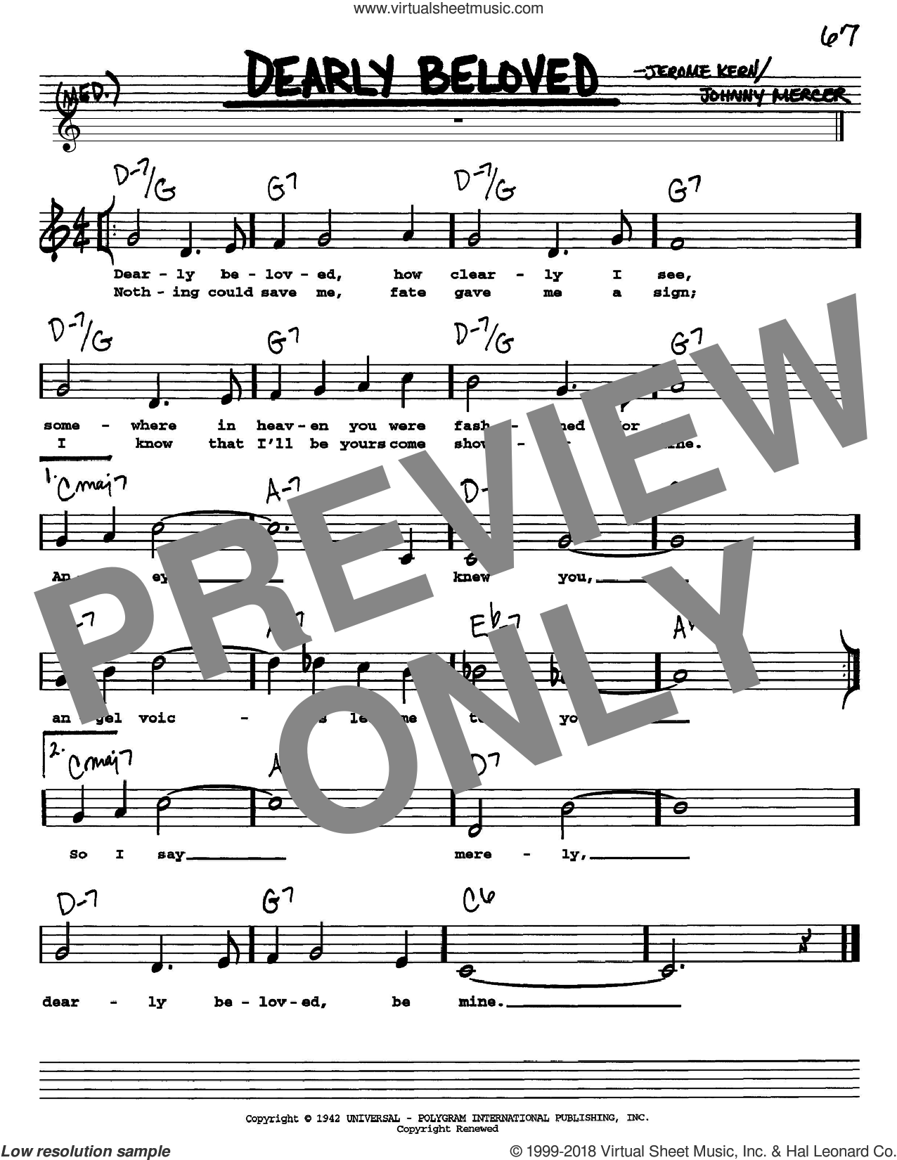 Dearly Beloved sheet music for voice and other instruments (Vocal Volume 1) by Johnny Mercer and Jerome Kern. Score Image Preview.
