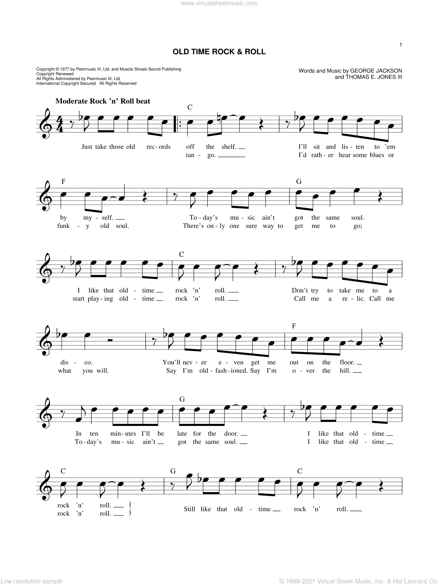 Old Time Rock and Roll sheet music for voice and other instruments (fake book) by Bob Seger, intermediate skill level