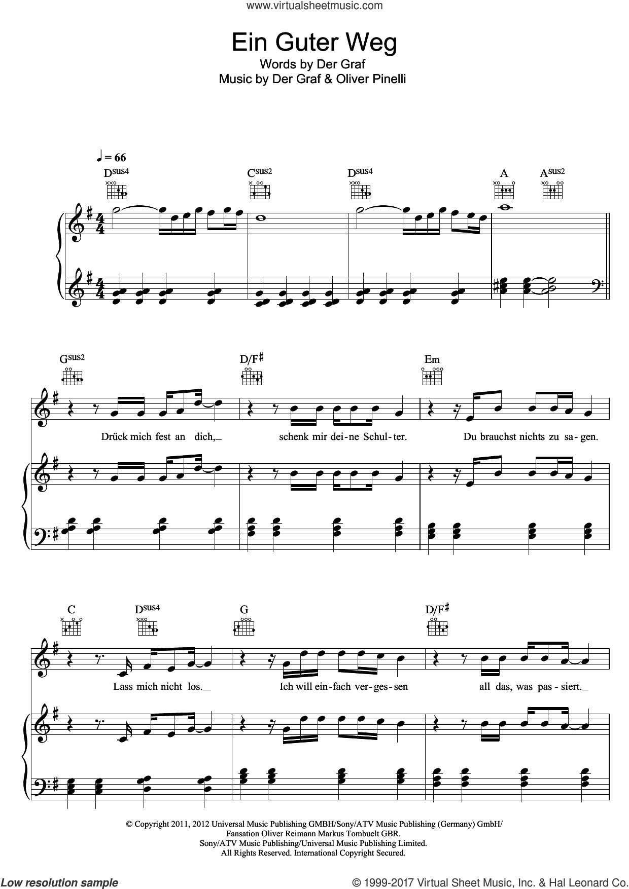Ein Guter Weg sheet music for voice, piano or guitar by Unheilig, Der Graf and Oliver Pinelli, intermediate skill level