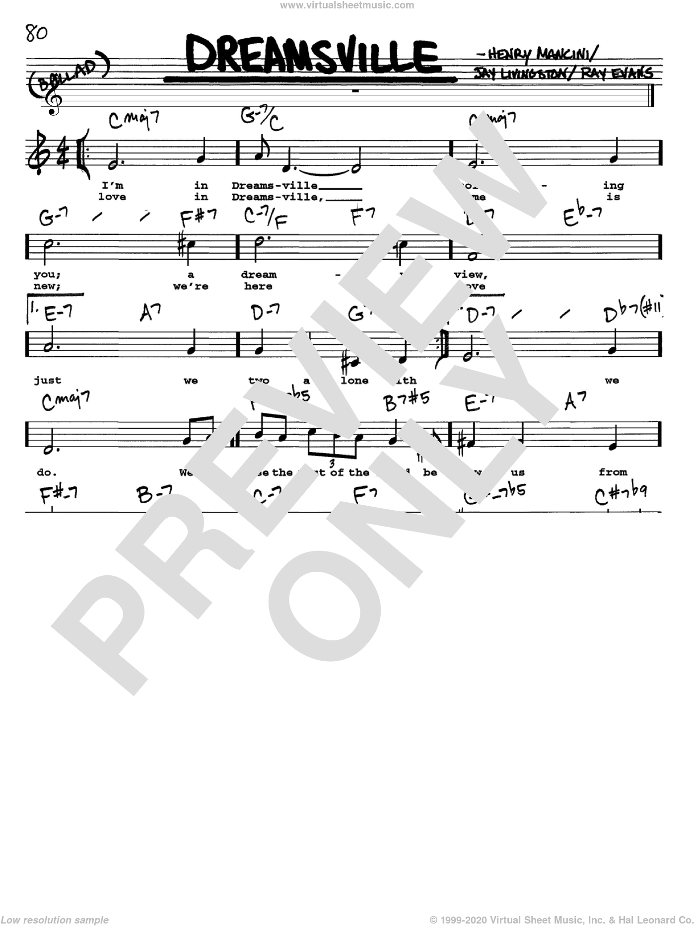 Dreamsville sheet music for voice and other instruments (Vocal Volume 1) by Henry Mancini, Jay Livingston and Ray Evans, intermediate voice. Score Image Preview.