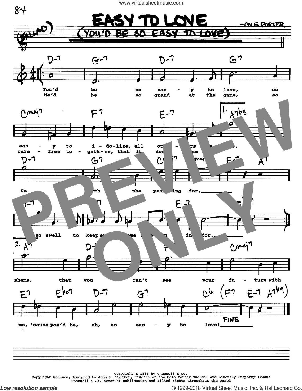 Easy To Love (You'd Be So Easy To Love) sheet music for voice and other instruments (Vocal Volume 1) by Cole Porter. Score Image Preview.