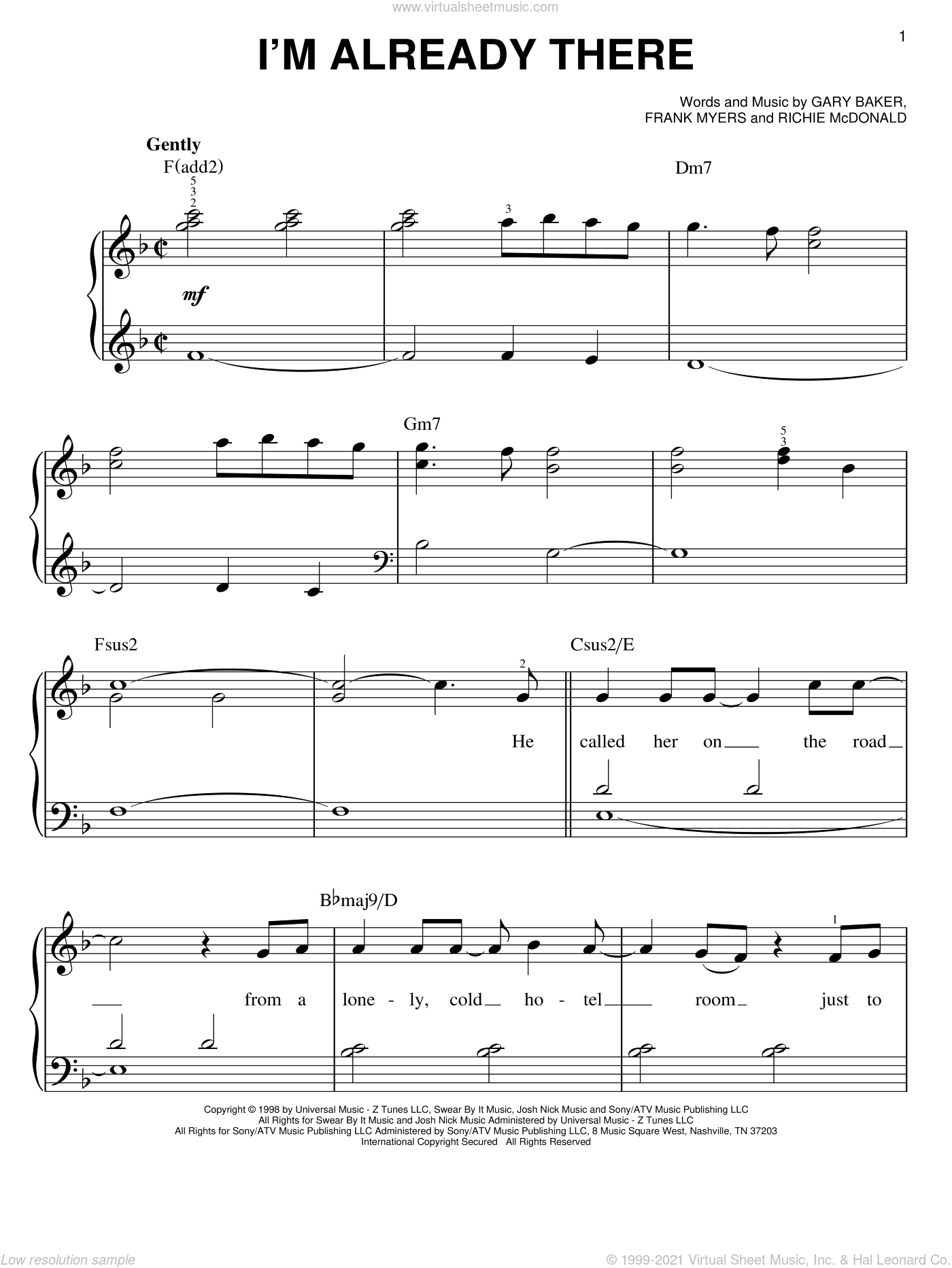 I'm Already There sheet music for piano solo by Lonestar, Frank Myers, Gary Baker and Richie McDonald, easy skill level