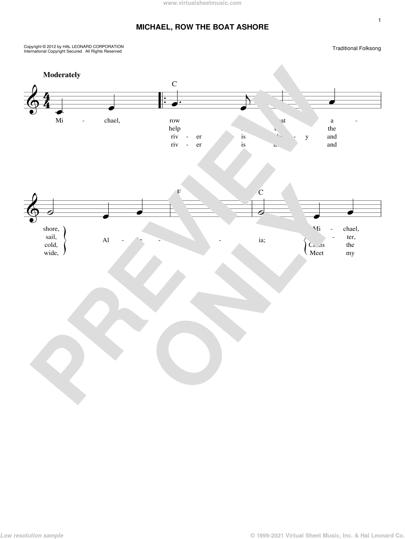 Michael Row The Boat Ashore sheet music for voice and other instruments (fake book), intermediate. Score Image Preview.