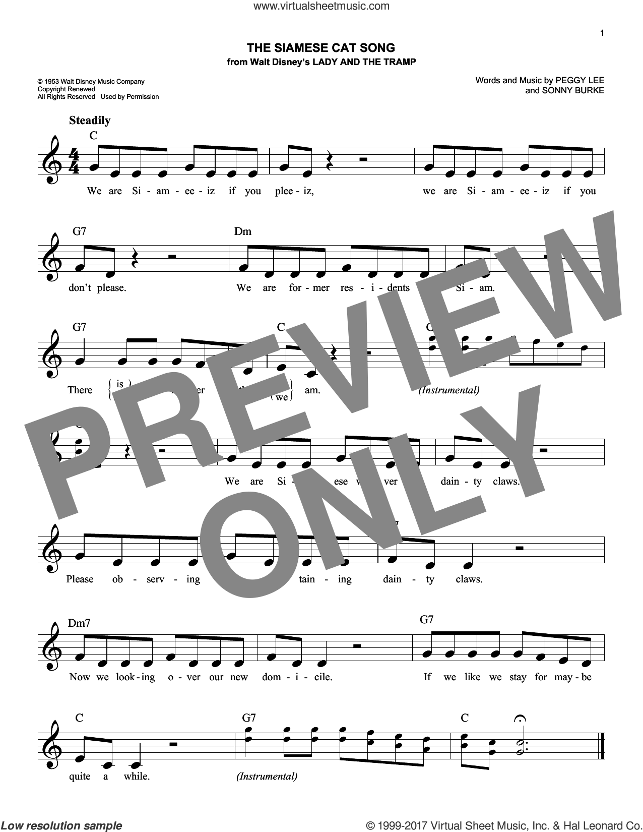 The Siamese Cat Song (from Lady And The Tramp) sheet music for voice and other instruments (fake book) by Peggy Lee and Sonny Burke, intermediate skill level
