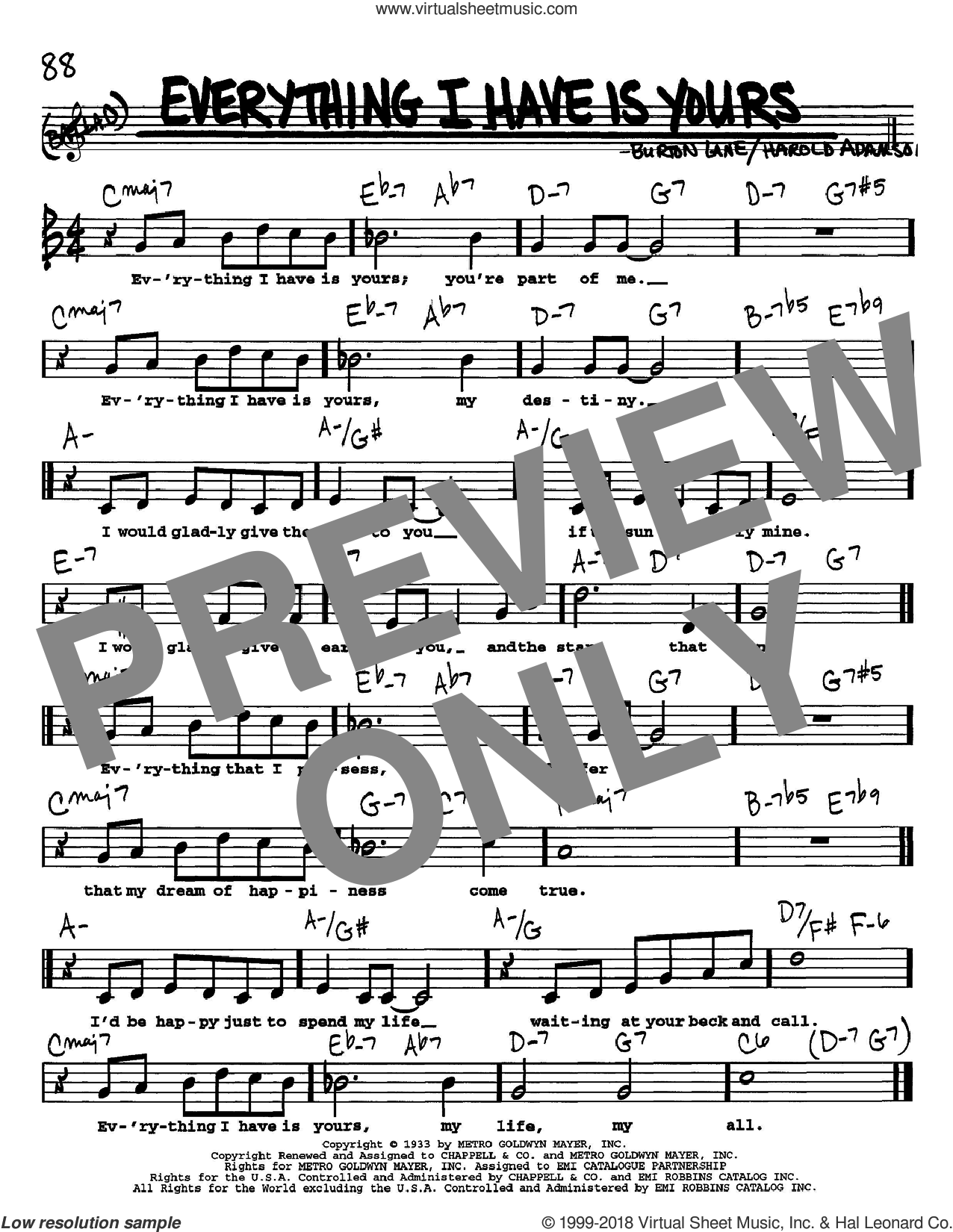 Everything I Have Is Yours sheet music for voice and other instruments (Vocal Volume 1) by Burton Lane and Harold Adamson
