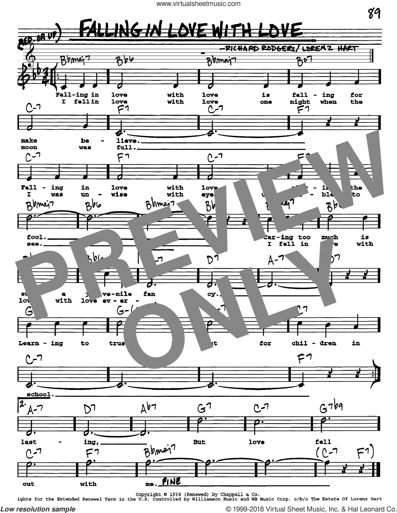 Falling In Love With Love sheet music for voice and other instruments (Vocal Volume 1) by Rodgers & Hart, Lorenz Hart and Richard Rodgers, intermediate voice. Score Image Preview.