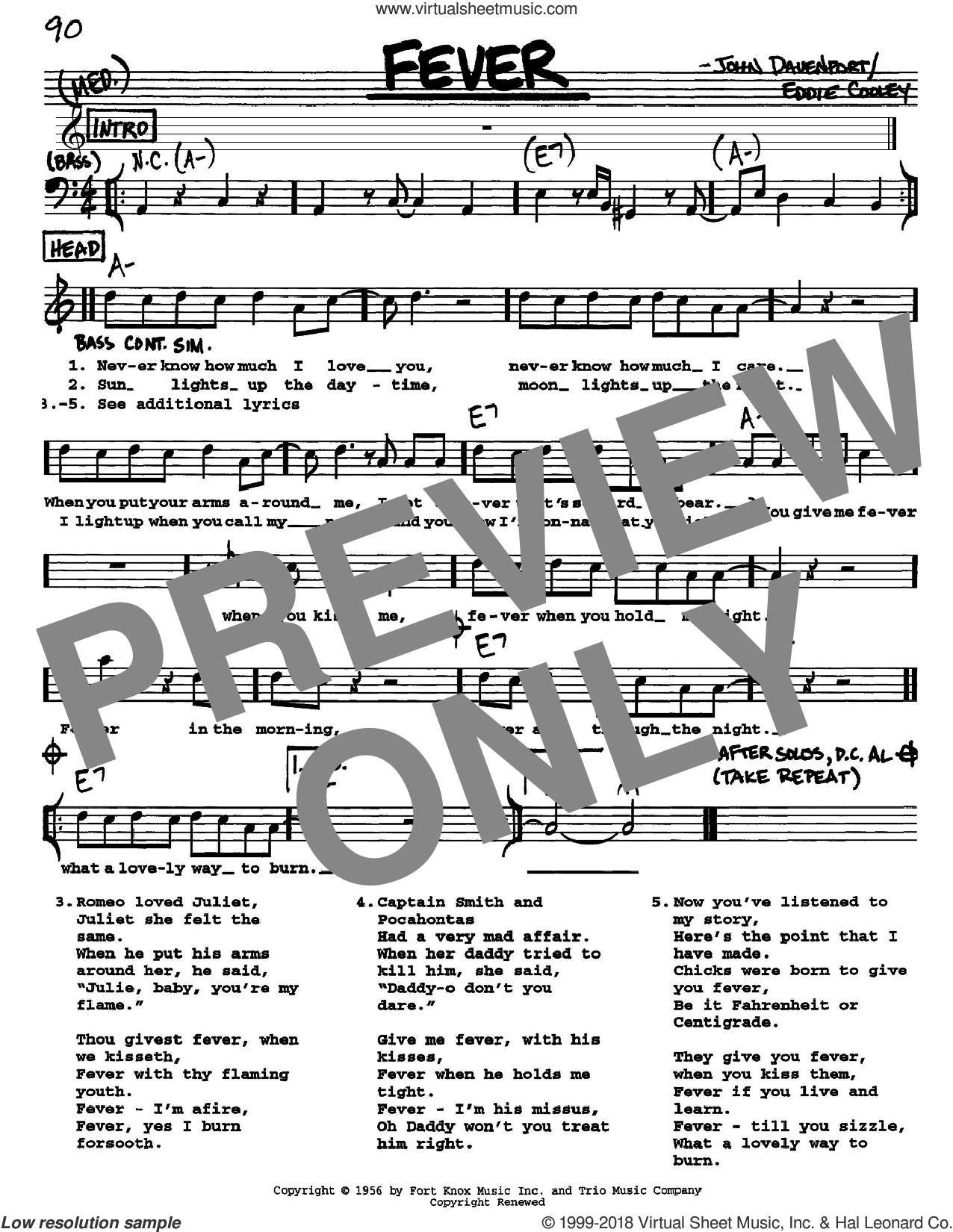 Fever sheet music for voice and other instruments (Vocal Volume 1) by Peggy Lee and Eddie Cooley. Score Image Preview.