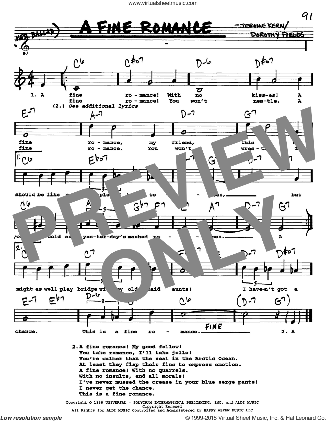 A Fine Romance sheet music for voice and other instruments (Vocal Volume 1) by Dorothy Fields and Jerome Kern. Score Image Preview.