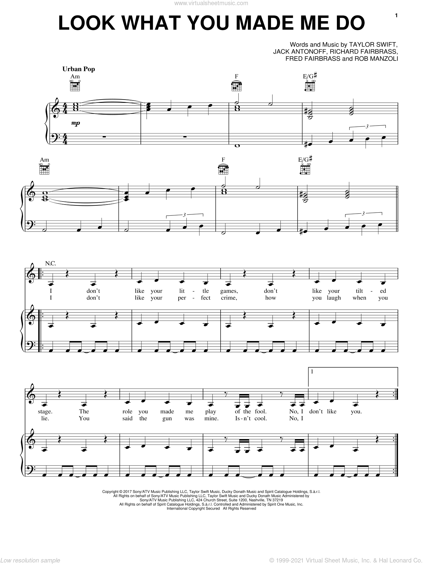 Look What You Made Me Do sheet music for voice, piano or guitar by Taylor Swift, Fred Fairbrass, Jack Antonoff, Richard Fairbrass and Rob Manzoli, intermediate skill level