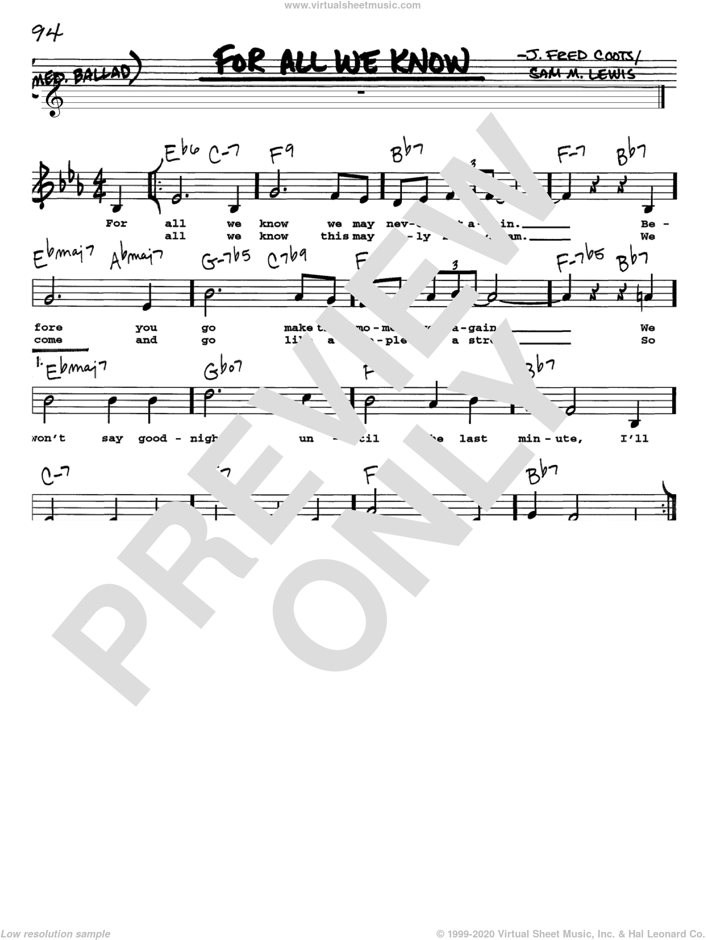 For All We Know sheet music for voice and other instruments (Vocal Volume 1) by J. Fred Coots and Sam Lewis. Score Image Preview.