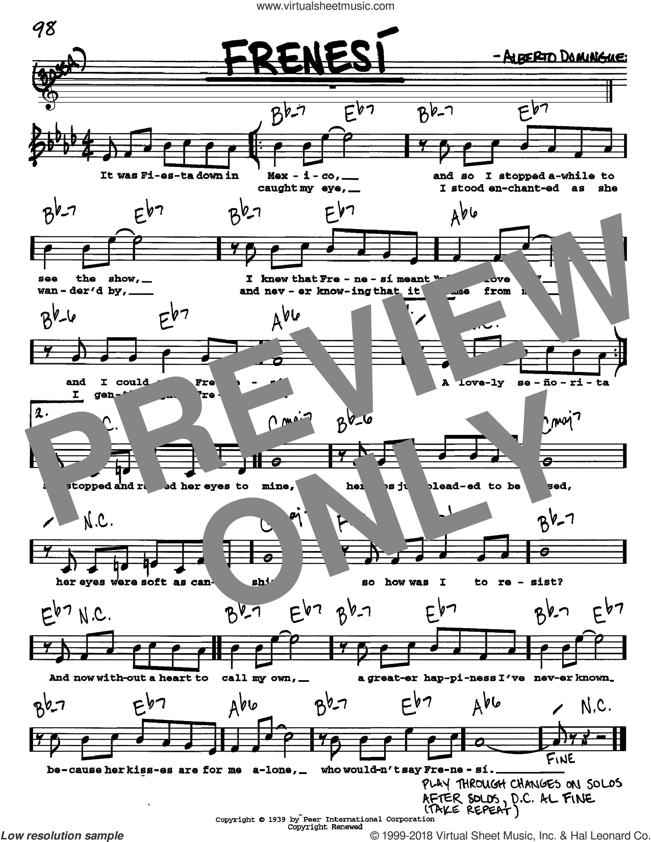 Frenesi sheet music for voice and other instruments (Vocal Volume 1) by Alberto Dominguez. Score Image Preview.