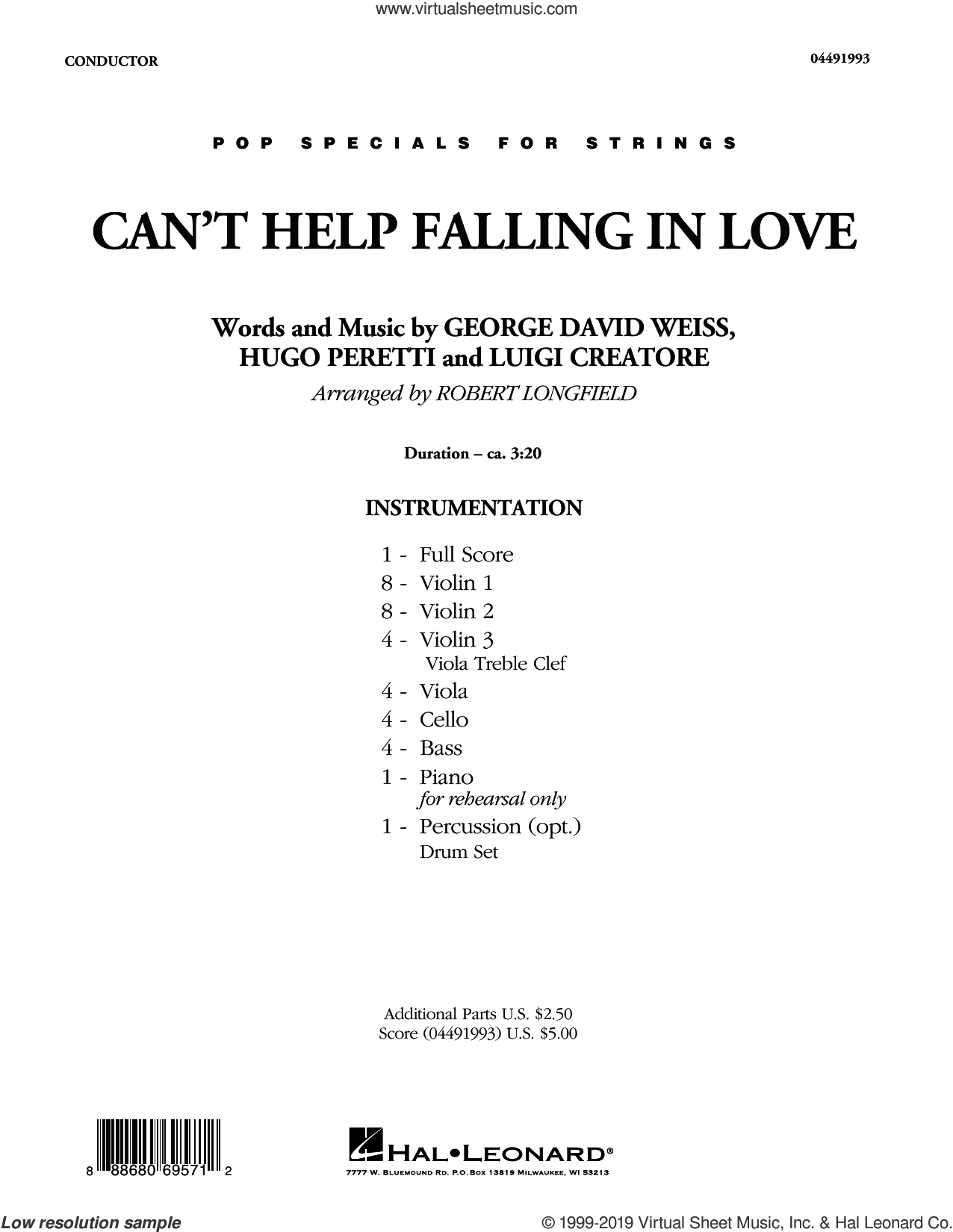 Can't Help Falling in Love (COMPLETE) sheet music for orchestra by Elvis Presley, George David Weiss, Hugo Peretti, Luigi Creatore, Robert Longfield and UB40, wedding score, intermediate skill level