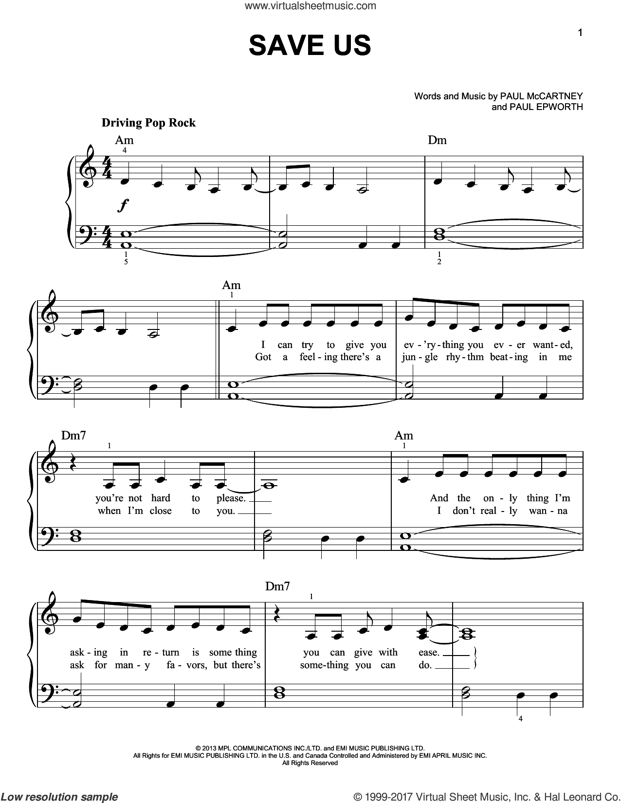 Save Us sheet music for piano solo by Paul McCartney and Paul Epworth, easy piano. Score Image Preview.